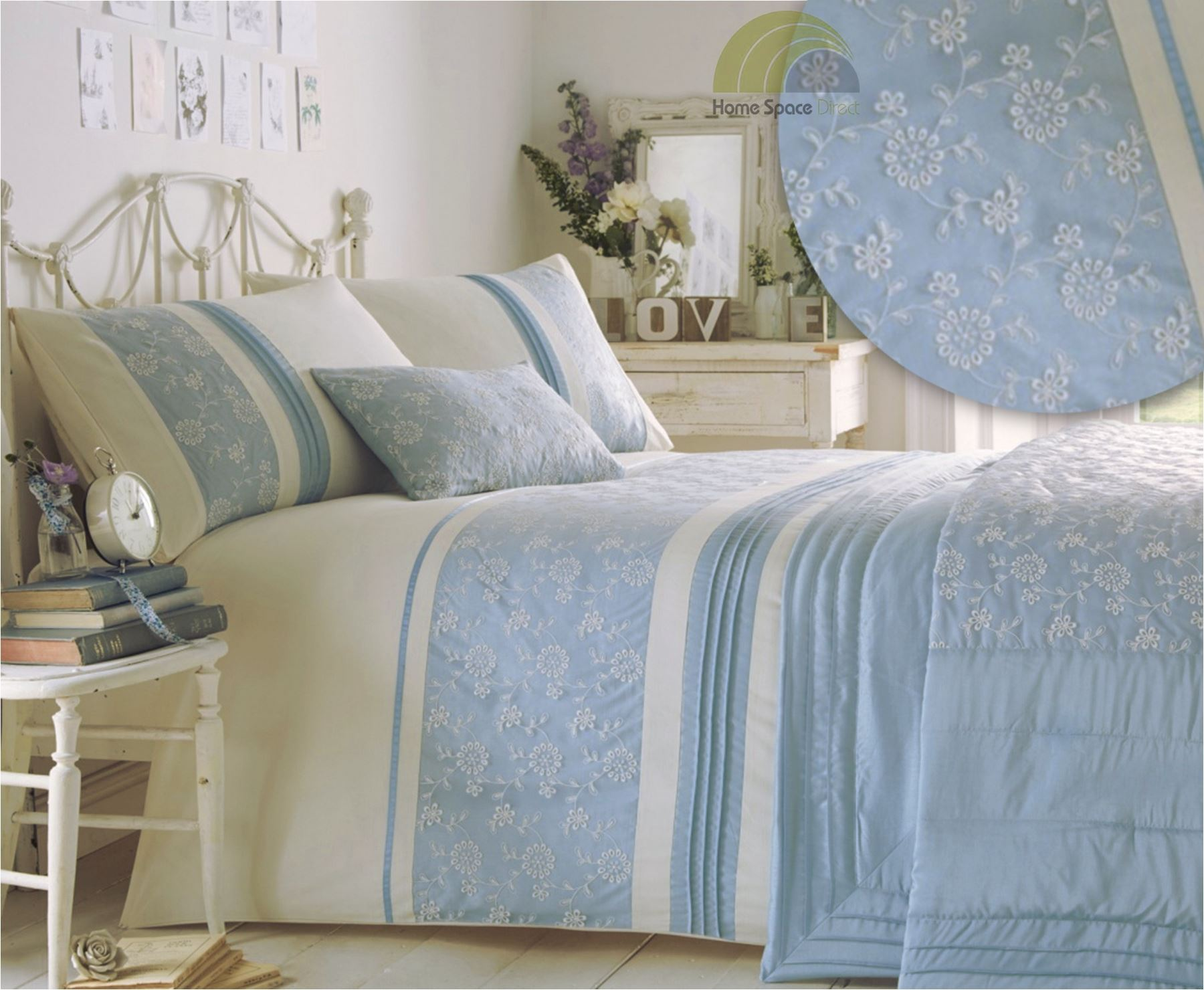 embroidered or laced quilt duvet cover bedding bed - Blue Bedding Sets
