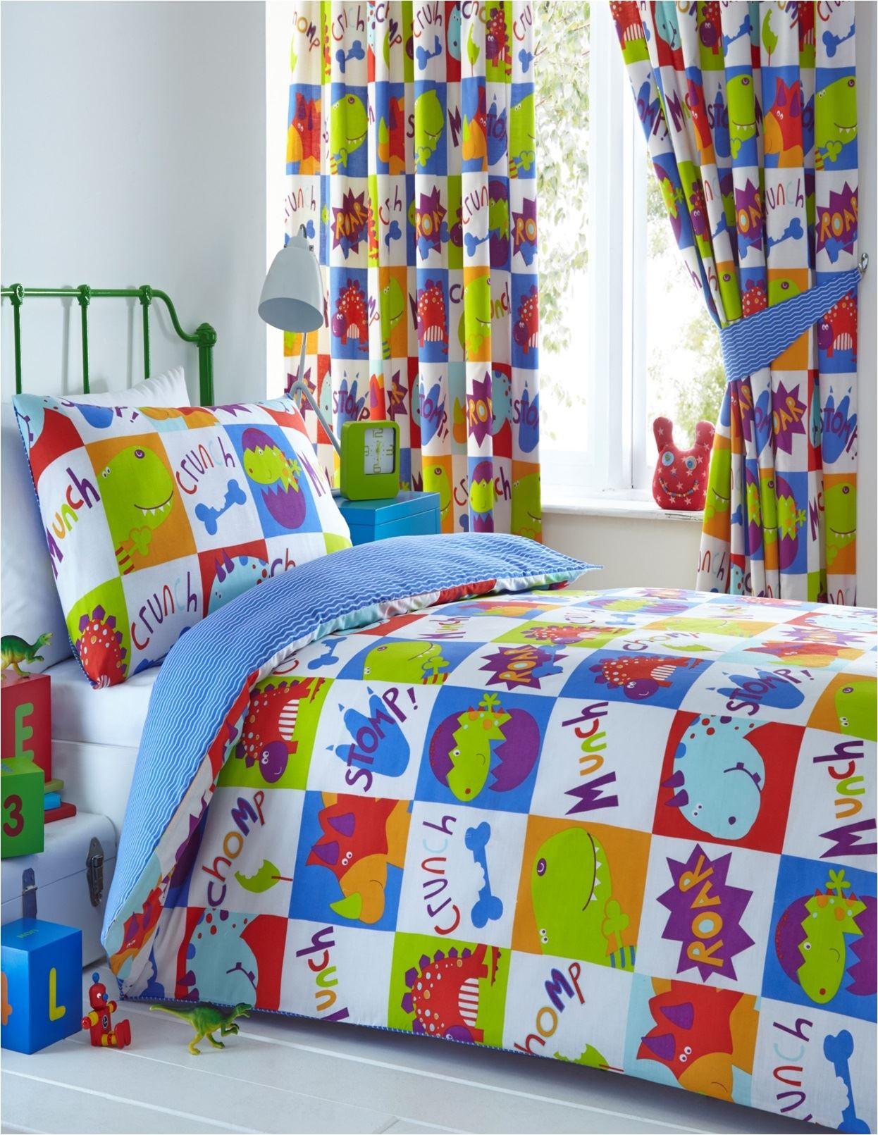 Young Dinosaur Kids Reversible Duvet Cover Set Or Matching Curtains Boys Girls Ebay