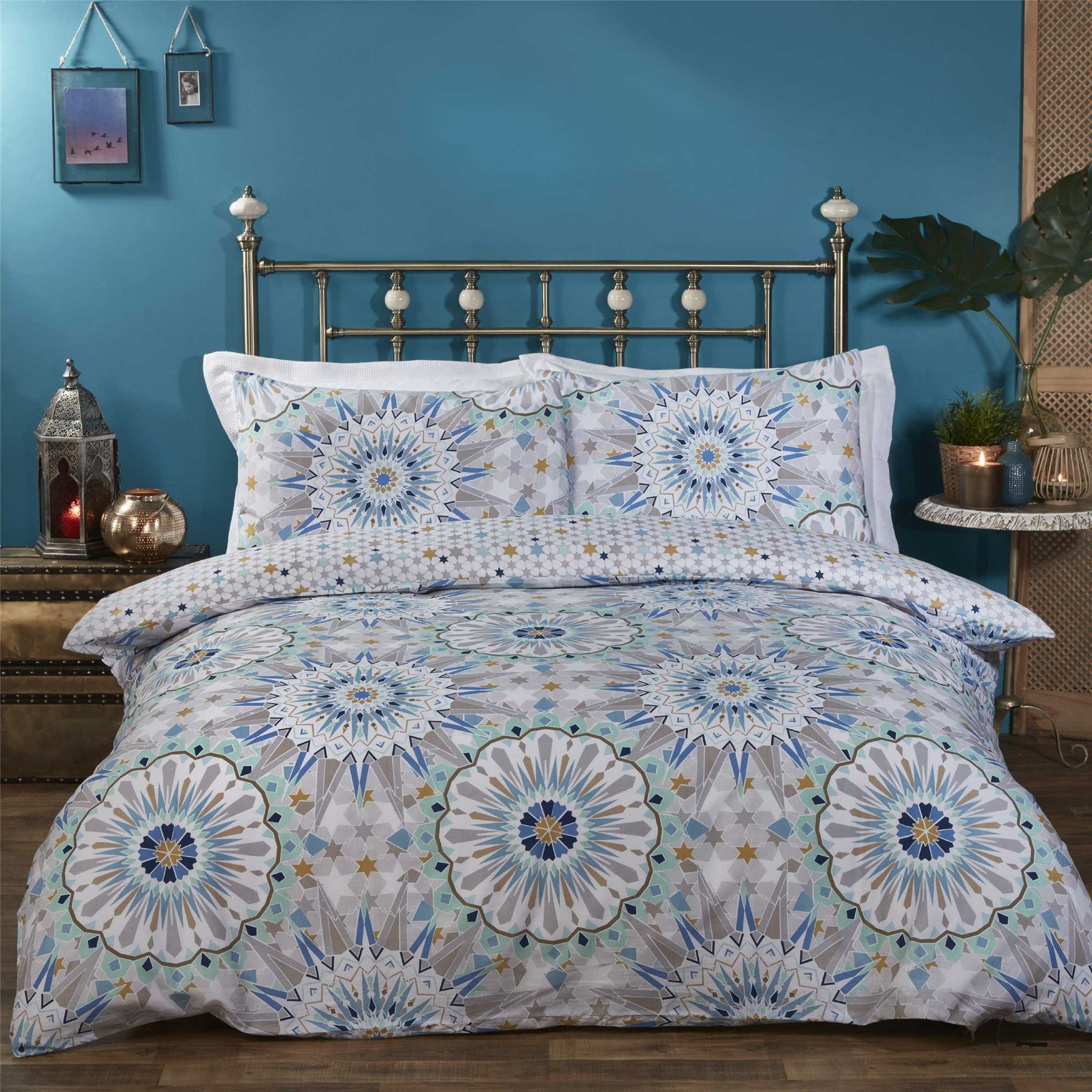 sets cases cover inc pillow luxury boho and bohemian itm covers quilt moroccan duvet with two medallion bedding set