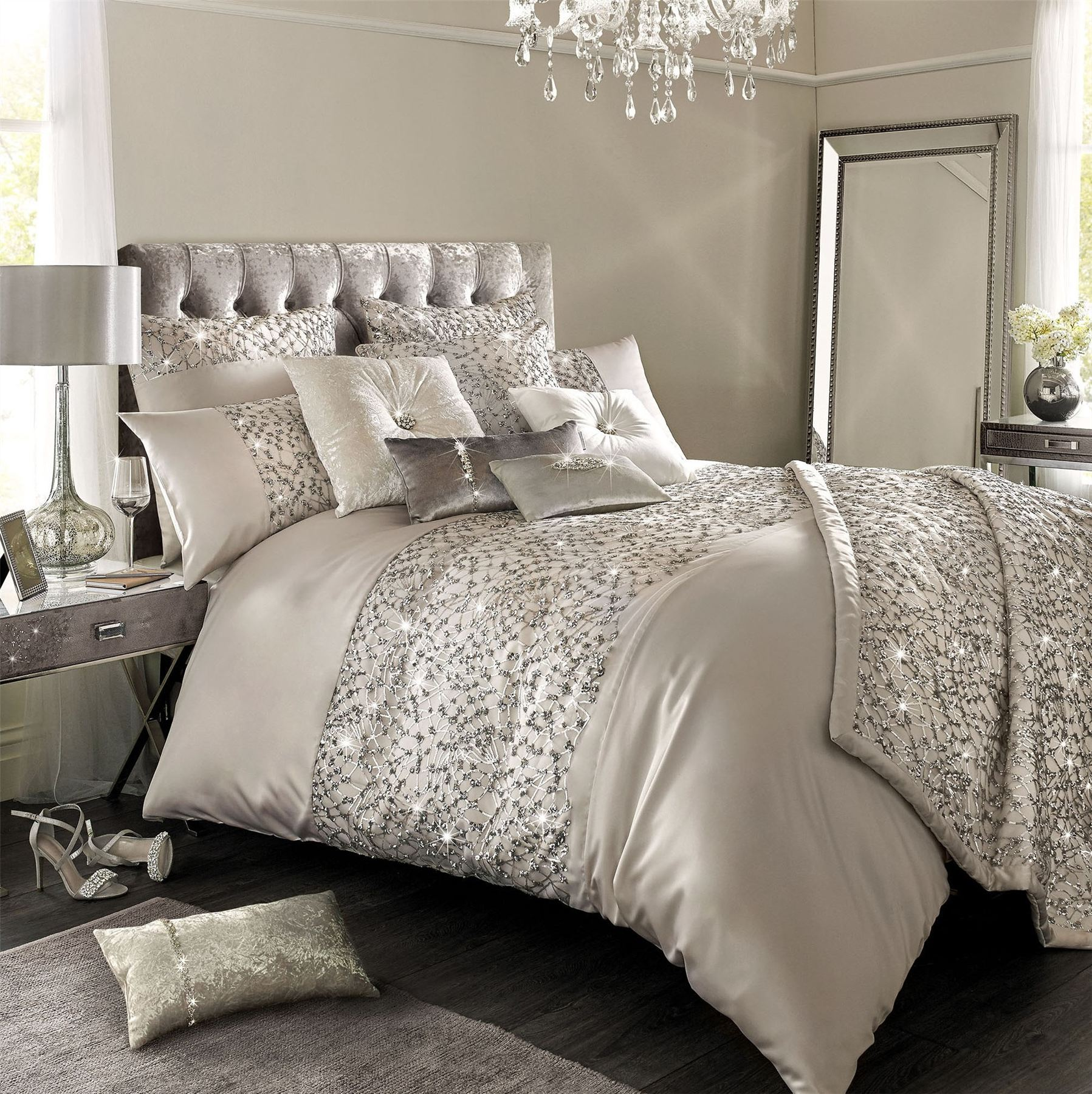 Kylie Minogue Helene Silver Duvet Cover Or Bed Throw Or