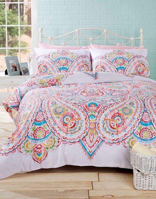 Cachemire-Couette-Housse-de-couette-et-taie-d-039-oreiller-Literie-Ensemble-de-lit-Colore-Floral