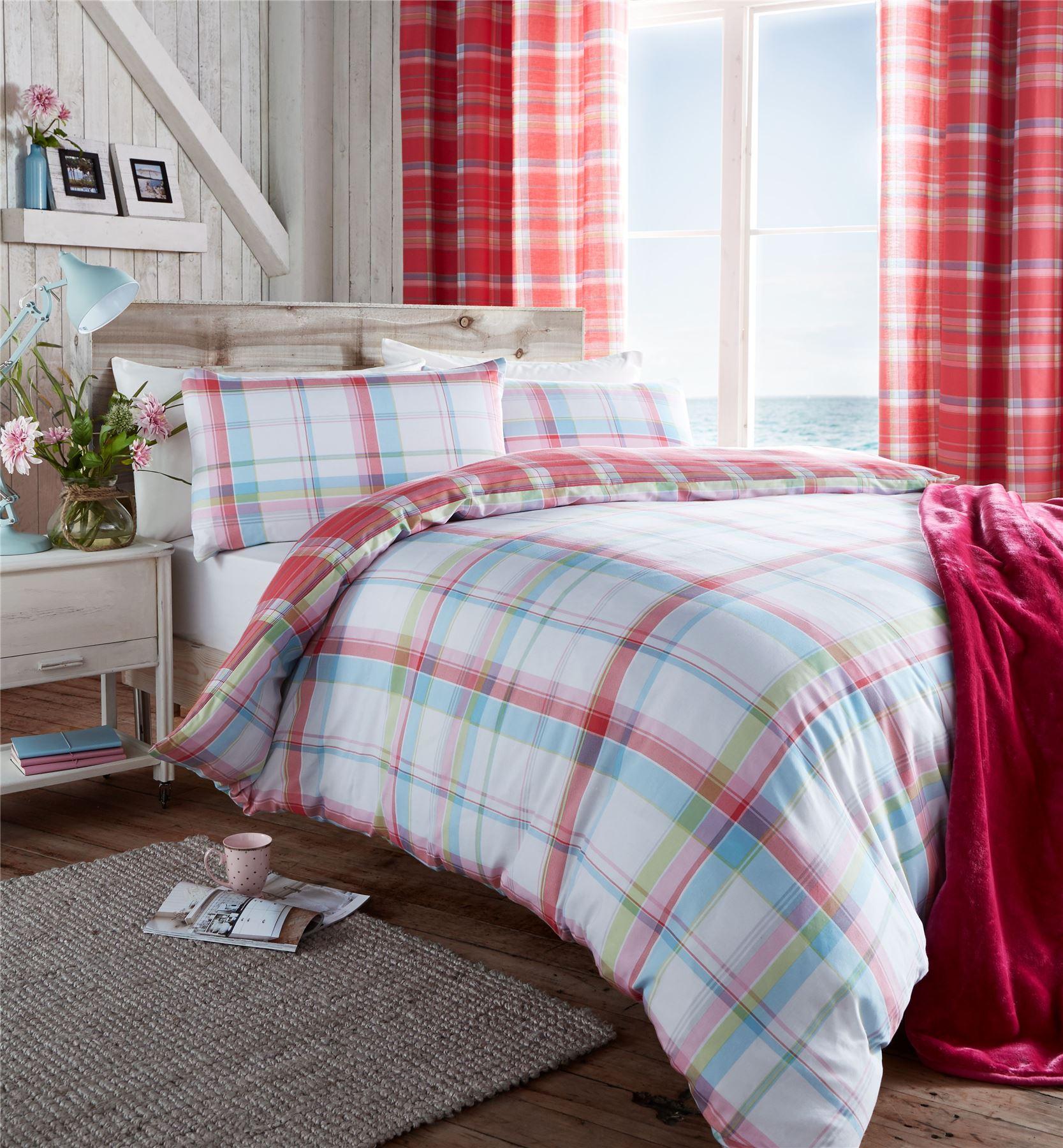 Checked & Striped Quilt Duvet Cover & Pillowcase Bedding Sets ... : tartan quilt - Adamdwight.com