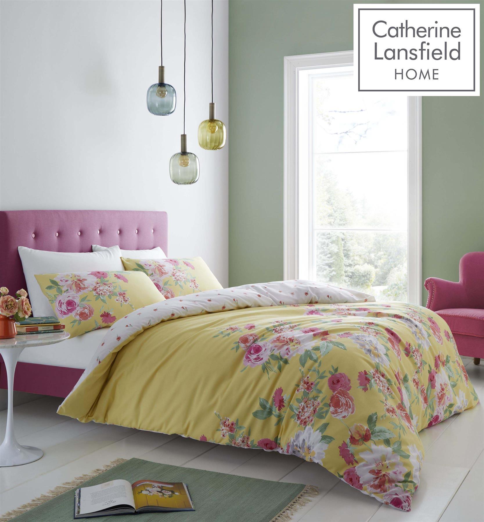 Ochre Single Catherine Lansfield Home Birdcage Blossom Reversible Duvet Cover Set