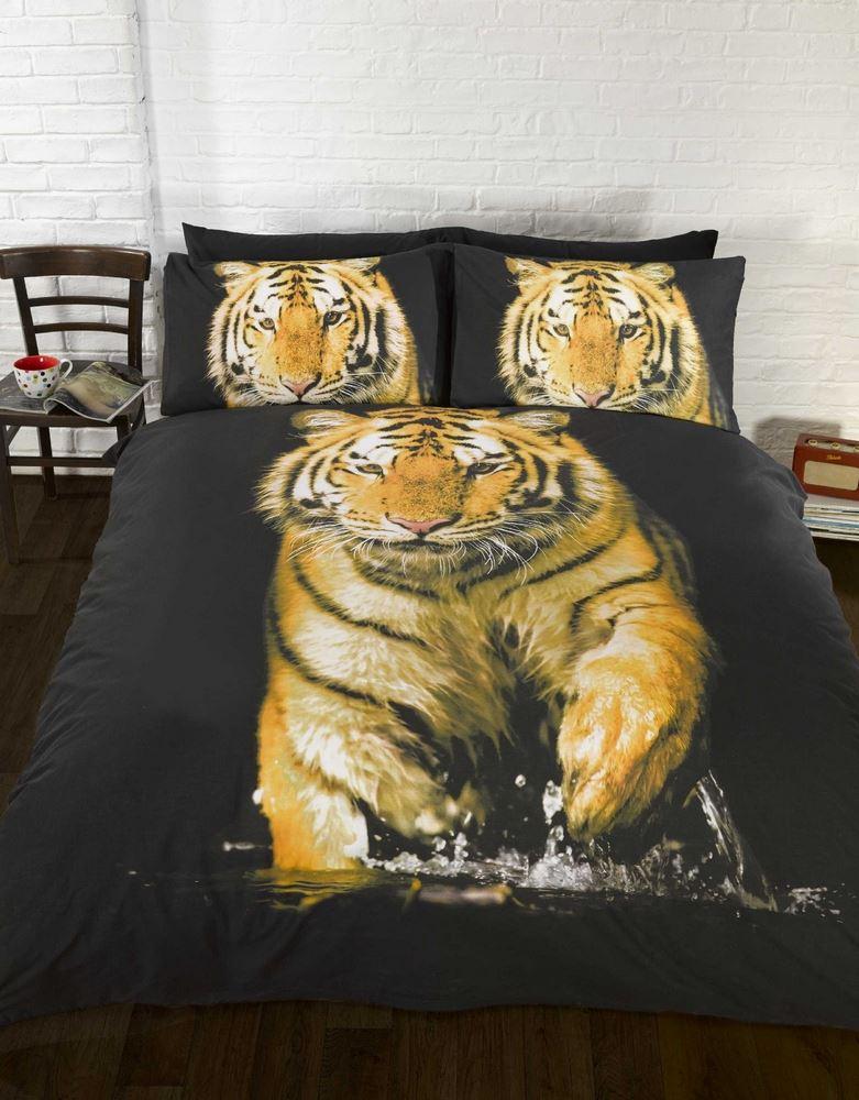 tiger fotografische tiere steppdecke bettdecke p h lle bett sets oder ebay. Black Bedroom Furniture Sets. Home Design Ideas