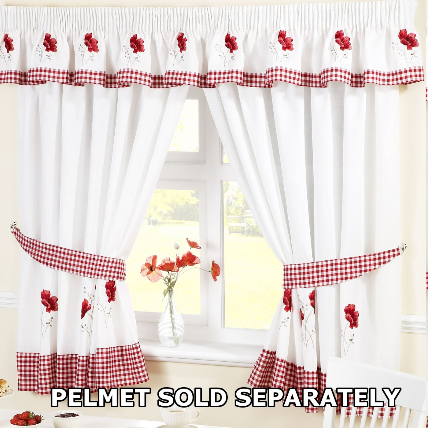 Kitchen Window Curtains Pair Voile Or Matching Pelmets