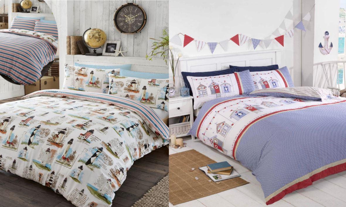 beach hut & lighthouse checked blue duvet cover & pillowcase