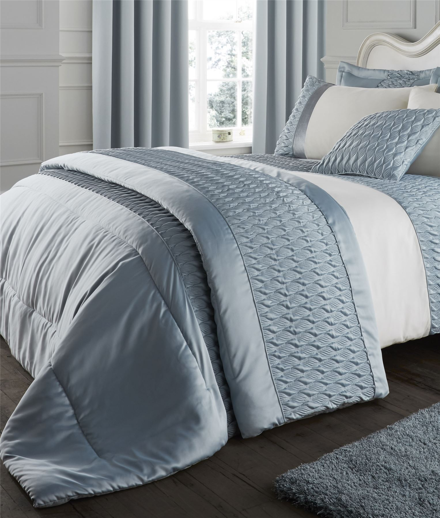 Duck Egg Catherine Lansfield Bedding Bed Set Curtains