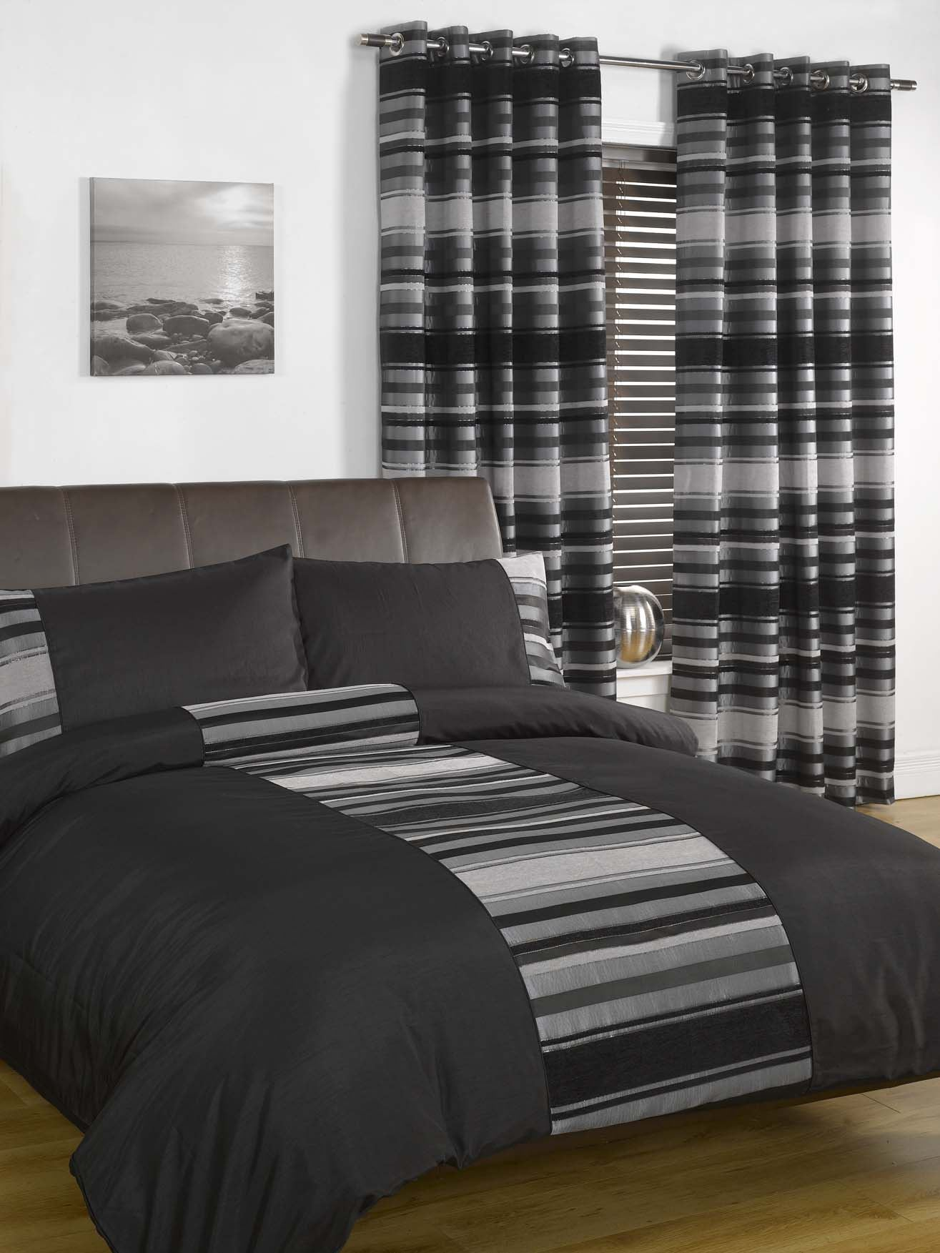 New York Style Duvet Cover P case Bed Set Chenille Striped Quilt