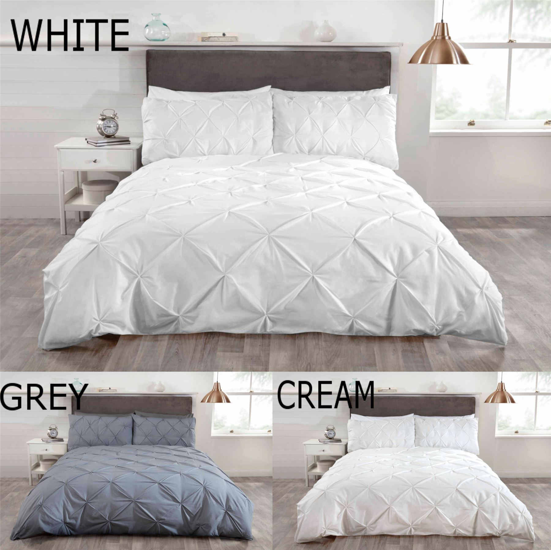 Luxury Duvet Quilt Bedding Bed Set And Pillowcases Pintuck