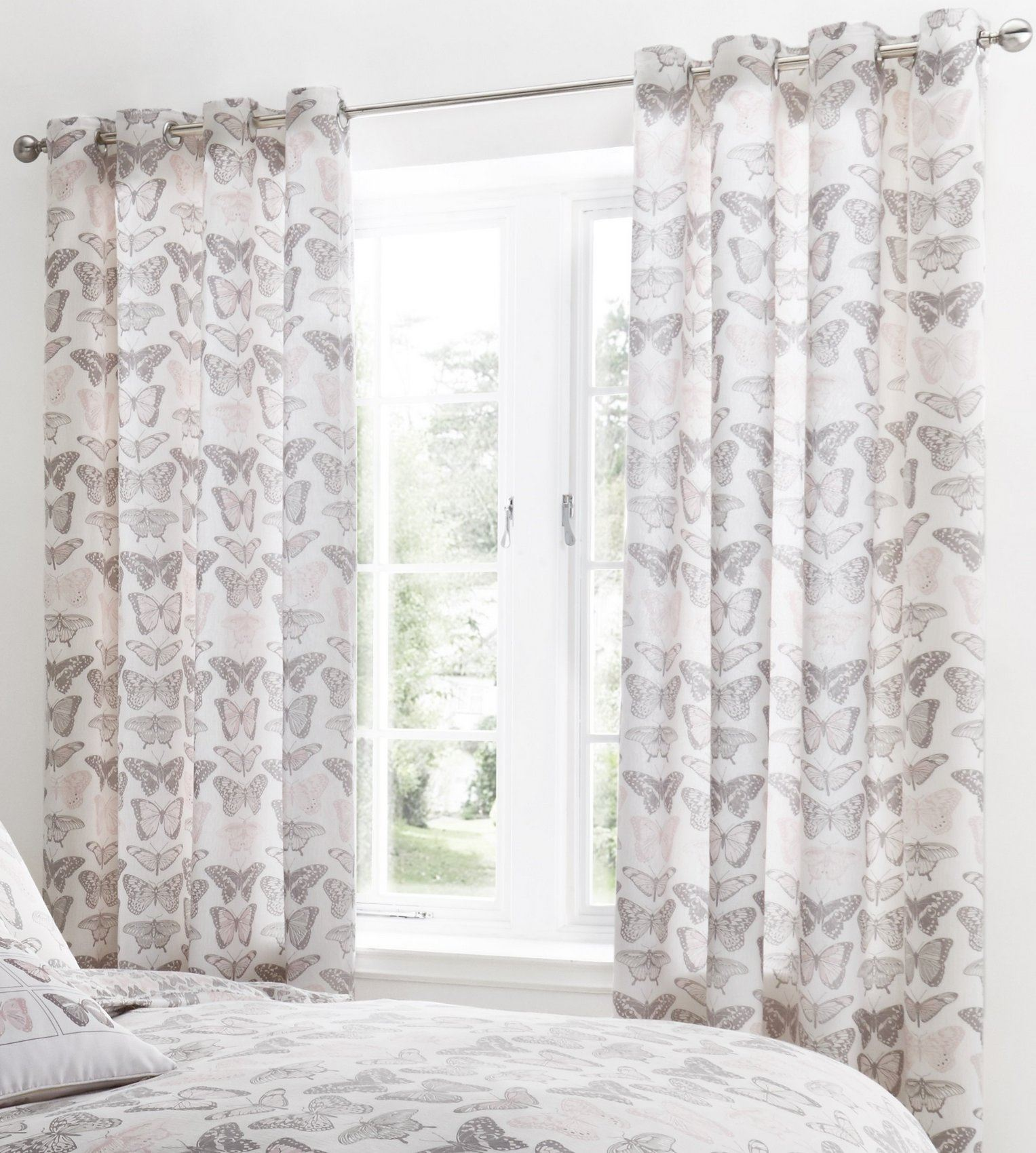 floral curtains eyelet ring top fully lined ready made. Black Bedroom Furniture Sets. Home Design Ideas