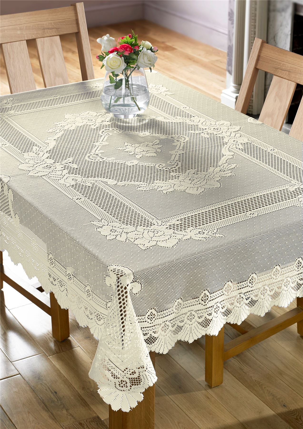 Lace Tablecloths Decorative Rose Table Linen Traditional Floral