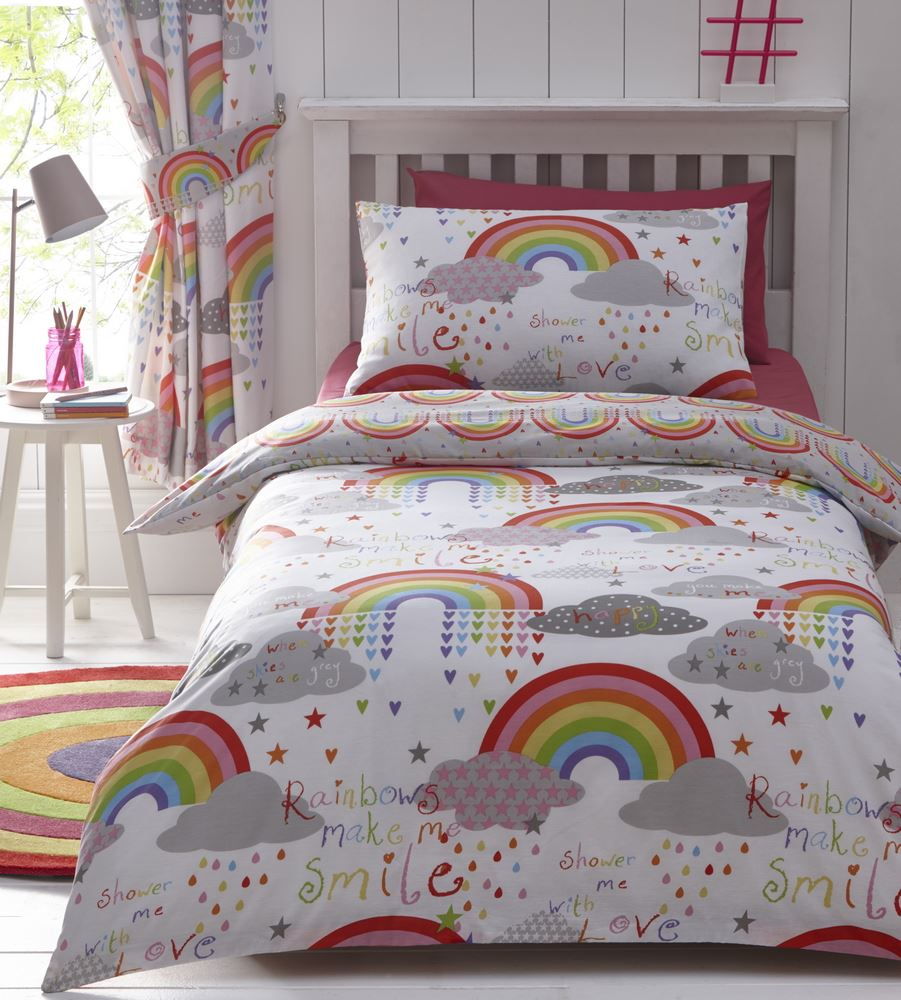 Rainbows and Clouds Duvet Cover Reversible Bedding Bed Set ...