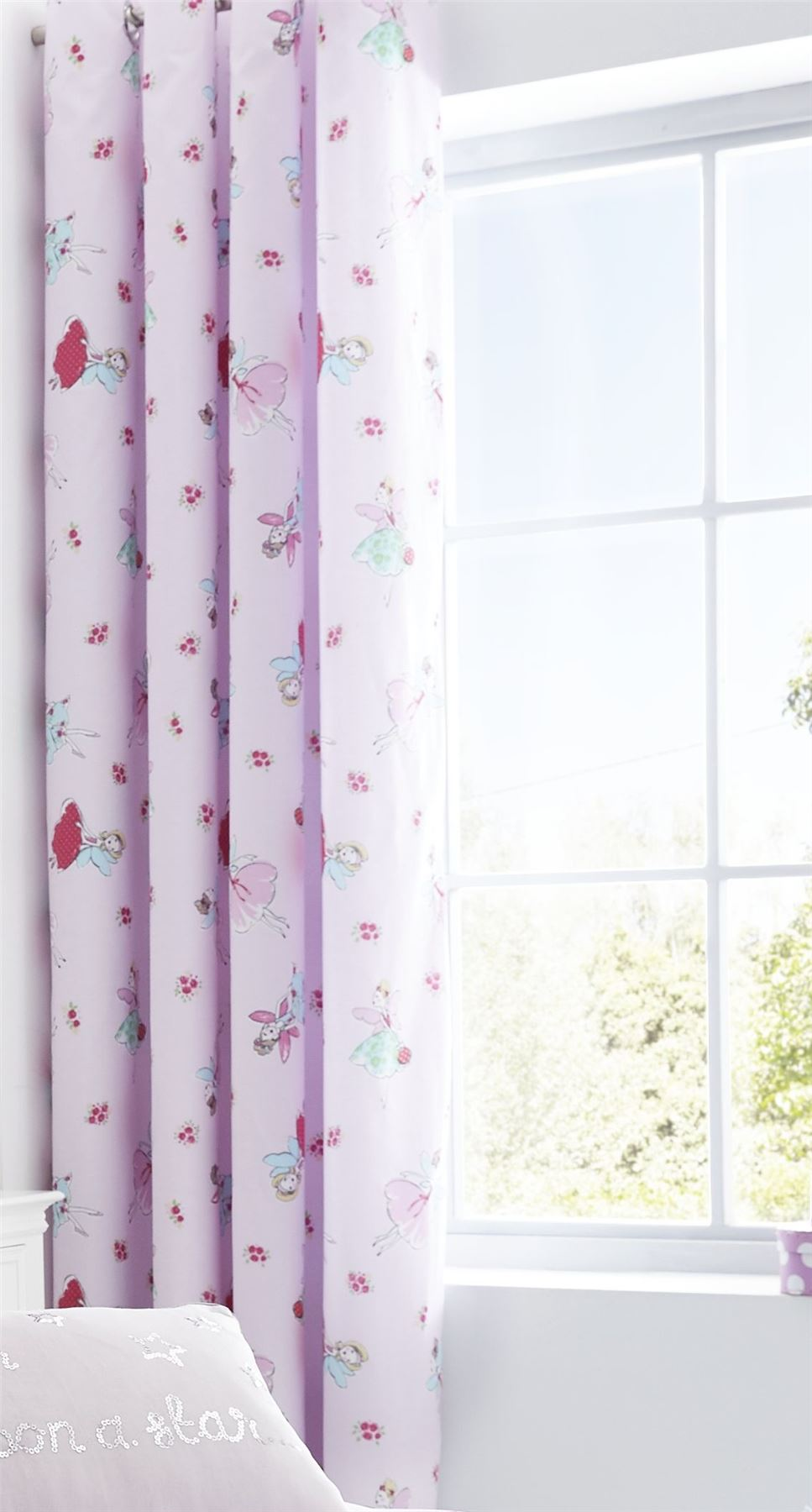 Catherine Lansfield Fairies Eyelet Curtains Pink 66 X 72 Inch