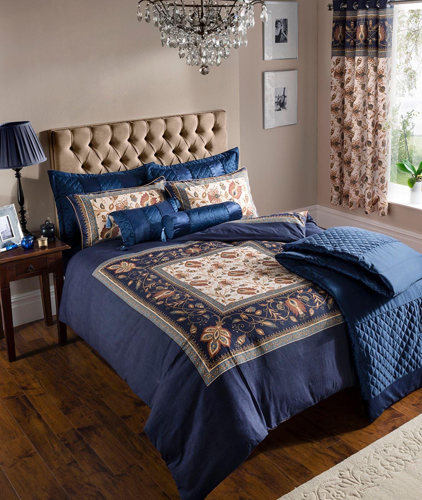 Edred n azul marino ropa de cama juego y o cortinas o cubrecama con algod n ebay - Cortinas azul marino ...