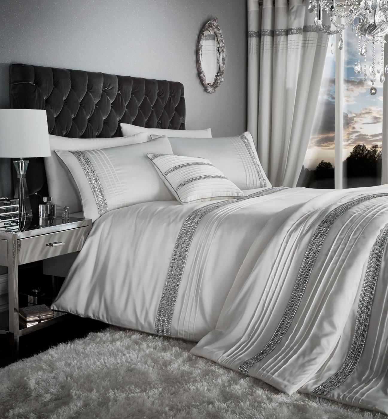 Diamante Duvet Cover Catherine Lansfield Bedding Bed Set