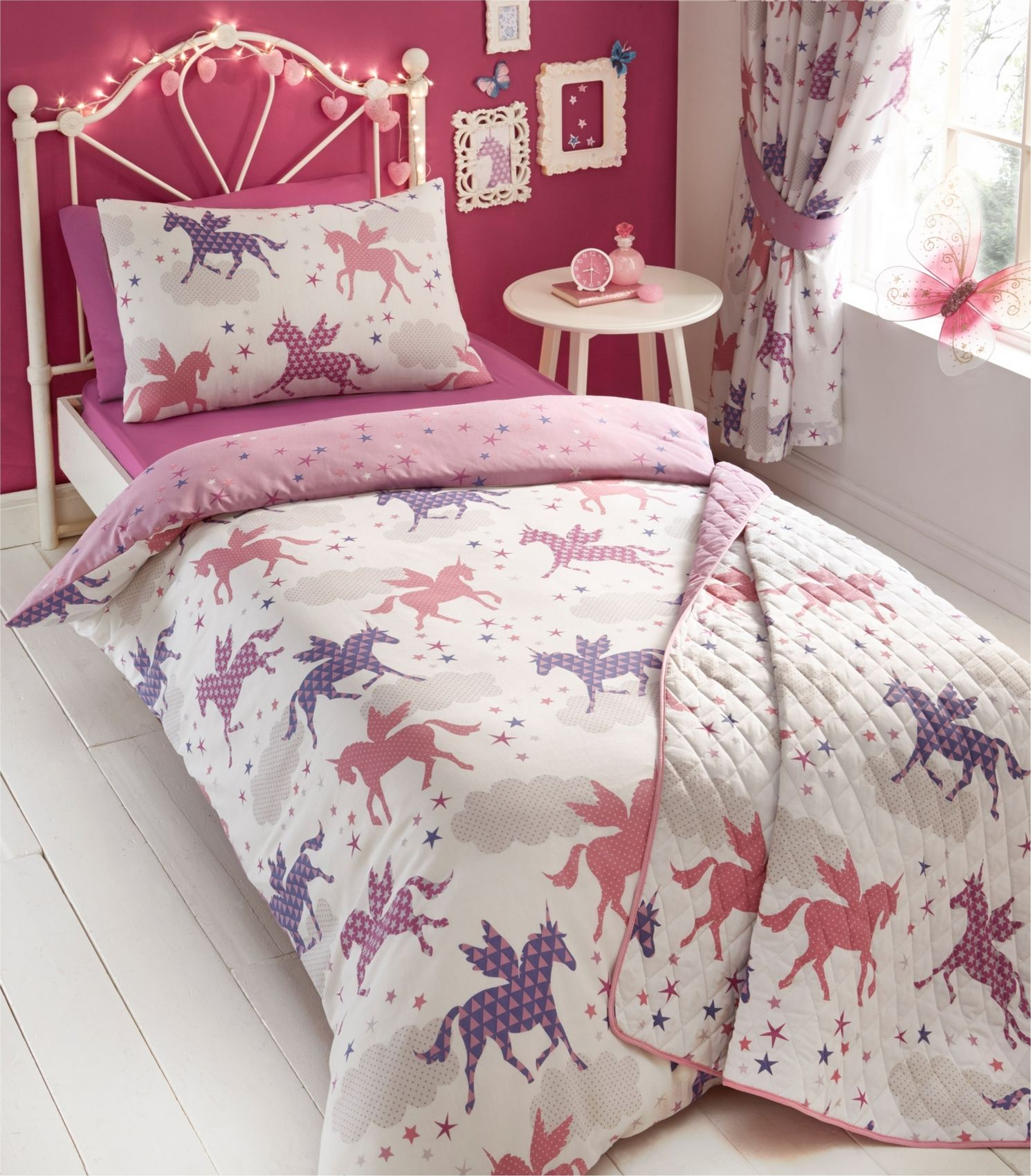 unicorns duvet cover pillowcase bedding bed set or curtains or throw ebay. Black Bedroom Furniture Sets. Home Design Ideas