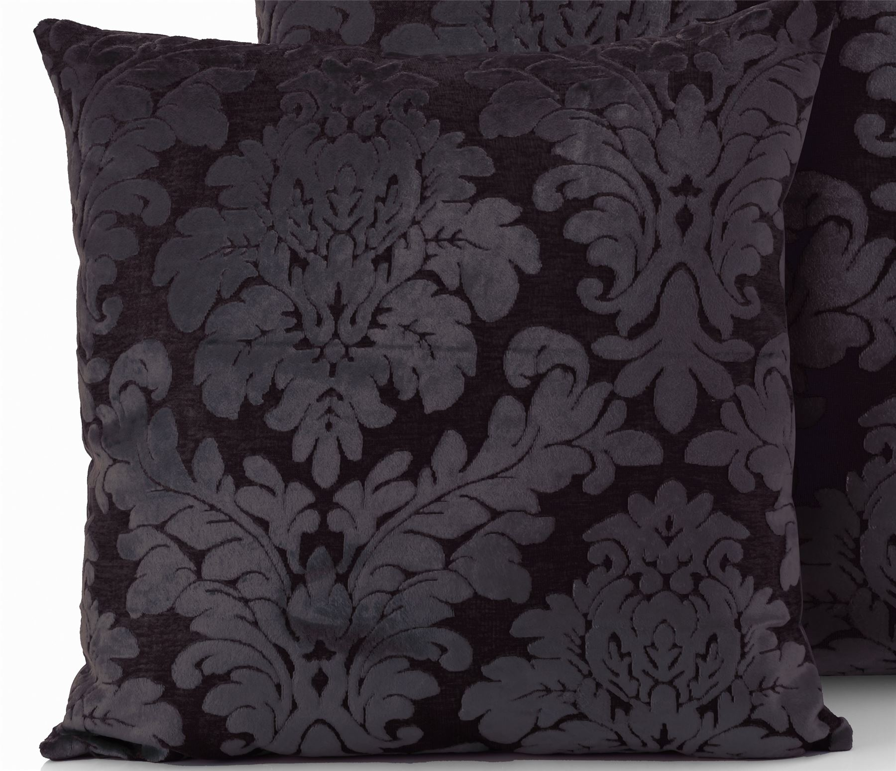 Damask Faux Velvet Cushion Cover Scatter Square Bed Sofa Silver