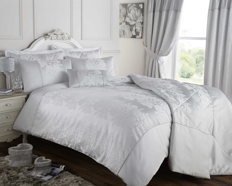 gris argent housse couette couvre lit ou rideaux jacquard