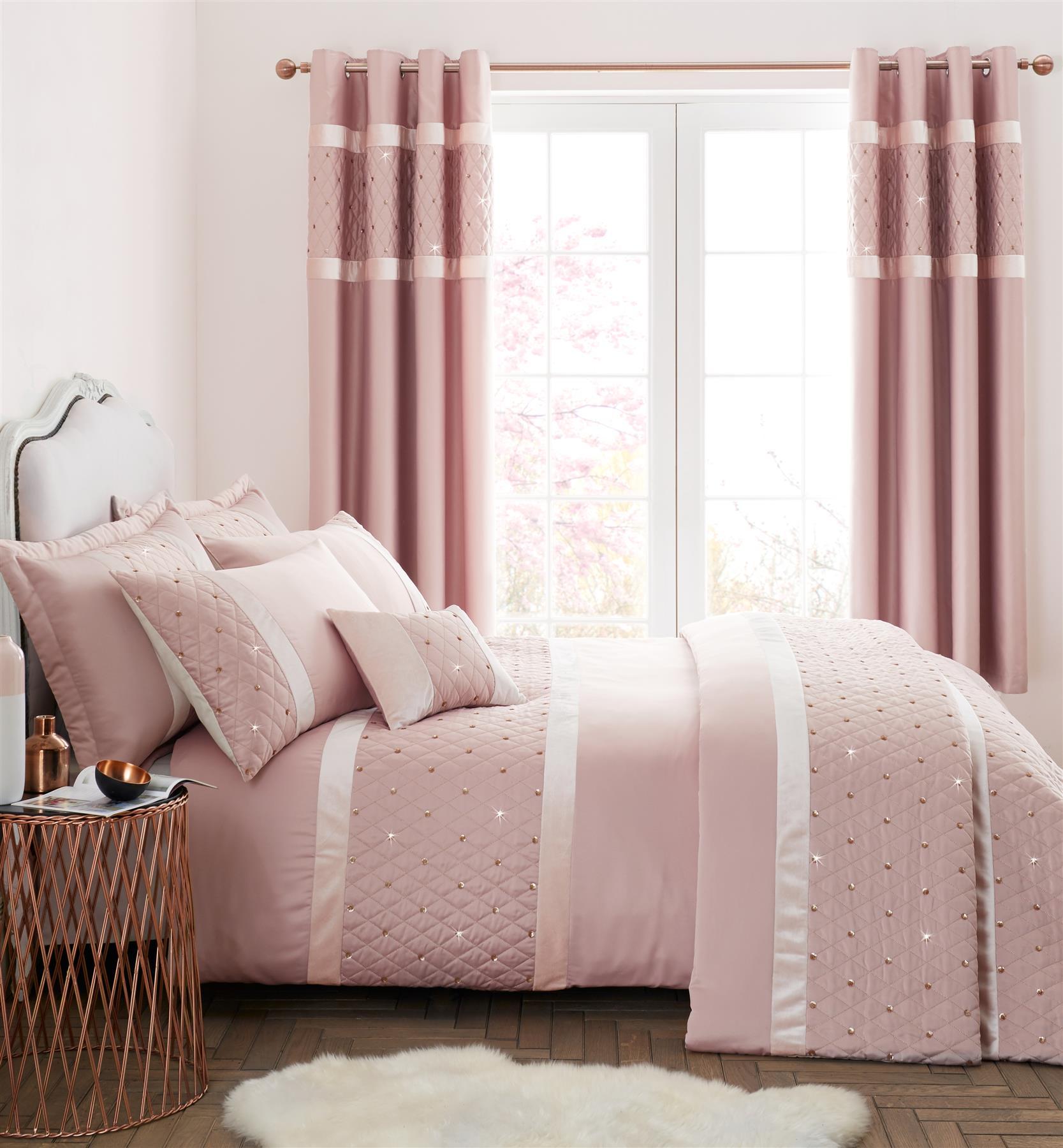 Catherine Lansfield Sequin Cluster Duvet Cover Set Silver Or Blush Pink Ebay