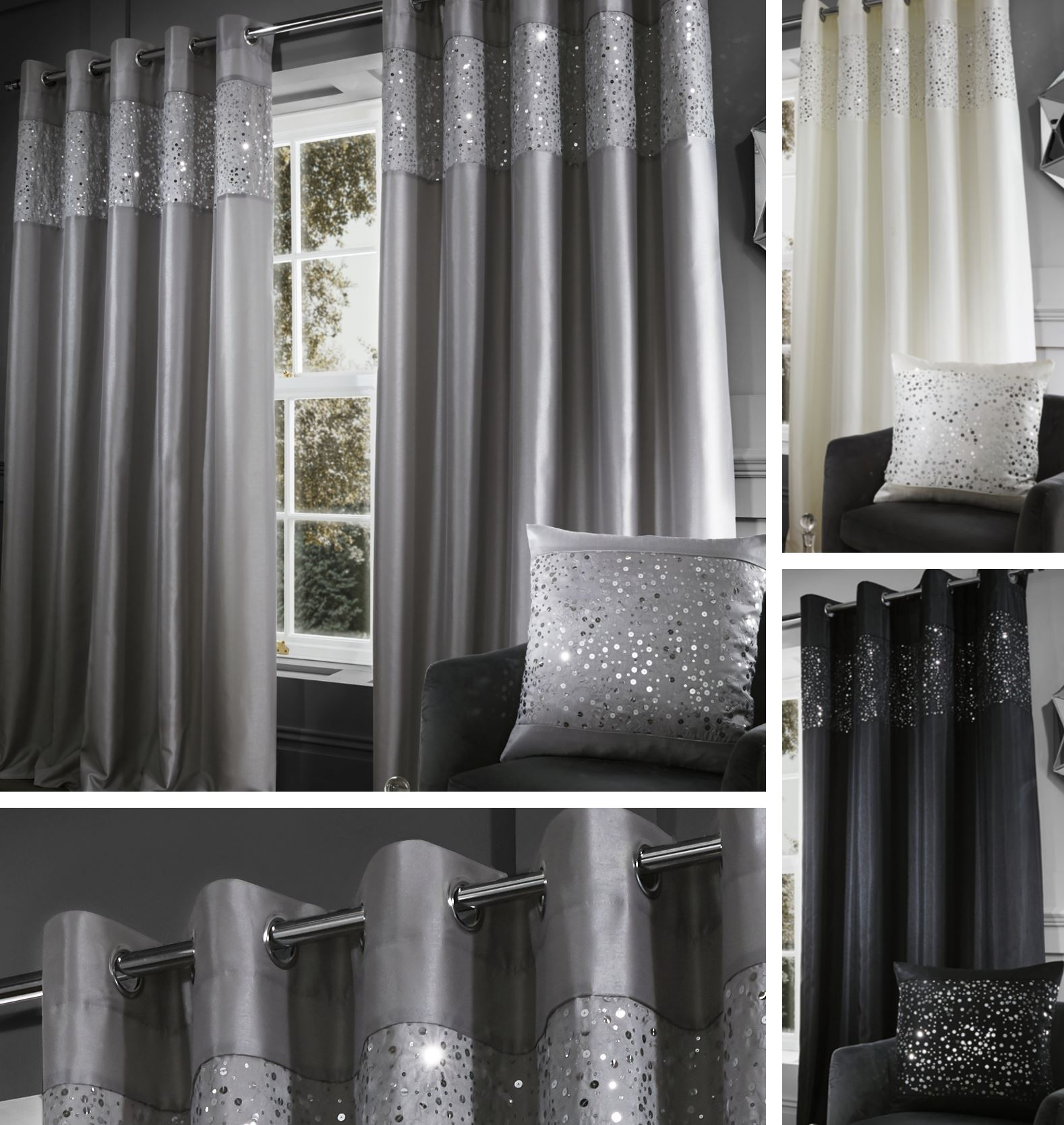 catherine lansfield pailette sen vorhang paar voll gef ttert oder kissenbezug ebay. Black Bedroom Furniture Sets. Home Design Ideas