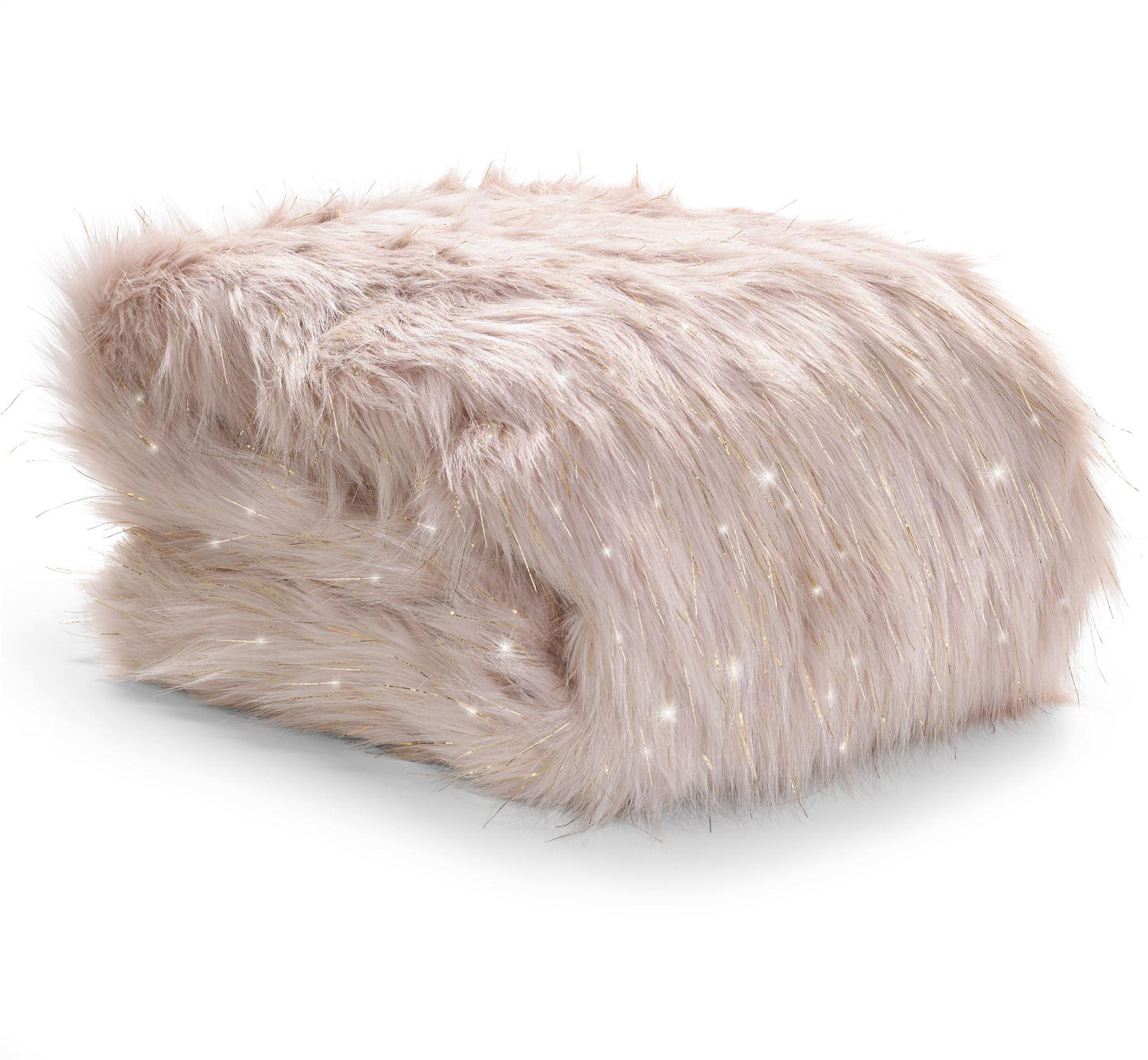 Catherine lansfield glamorous metallic fur throw or for Gitter fur steinkorbe