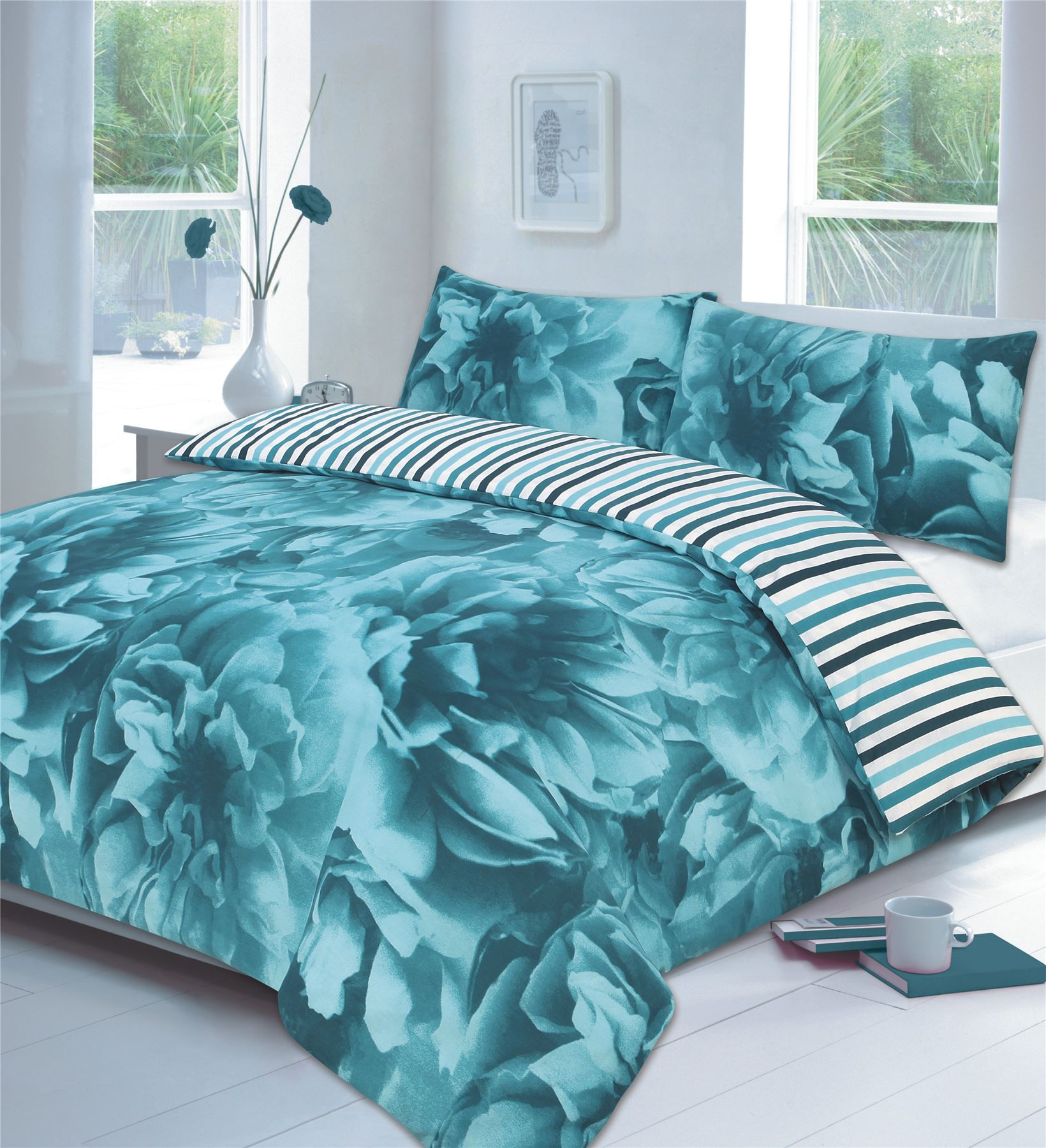 rose floral lilac or teal or red duvet cover p case bedding bed sets 3 sizes ebay. Black Bedroom Furniture Sets. Home Design Ideas