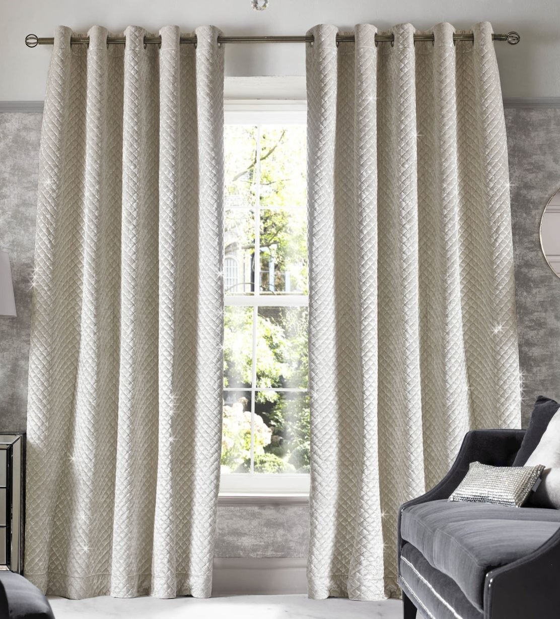 kylie minogue curtains ready made lined eyelet ring top. Black Bedroom Furniture Sets. Home Design Ideas