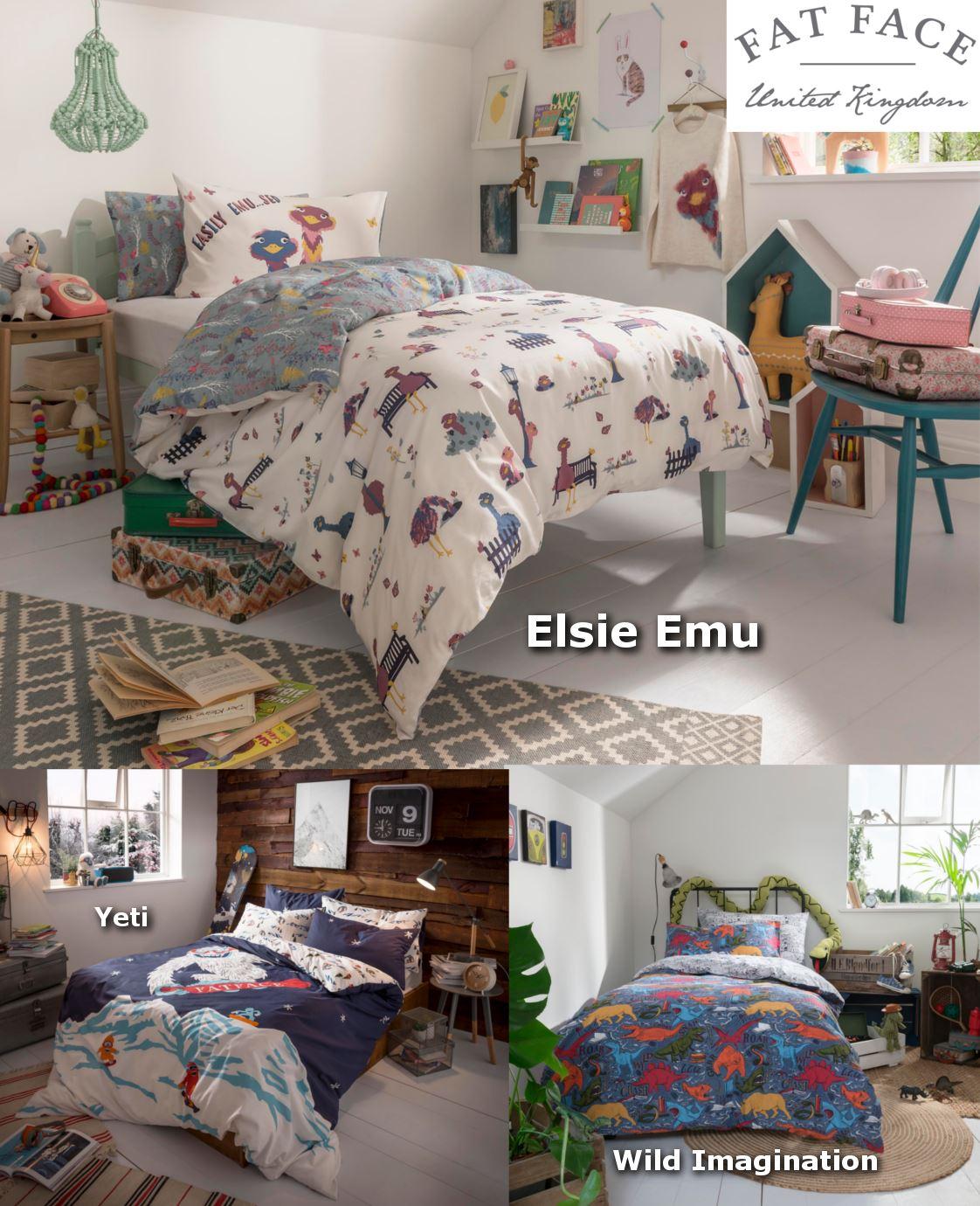 Wild Imagination Childrens Duvet Cover Set 100/% Cotton Fat Face Kids Bedding