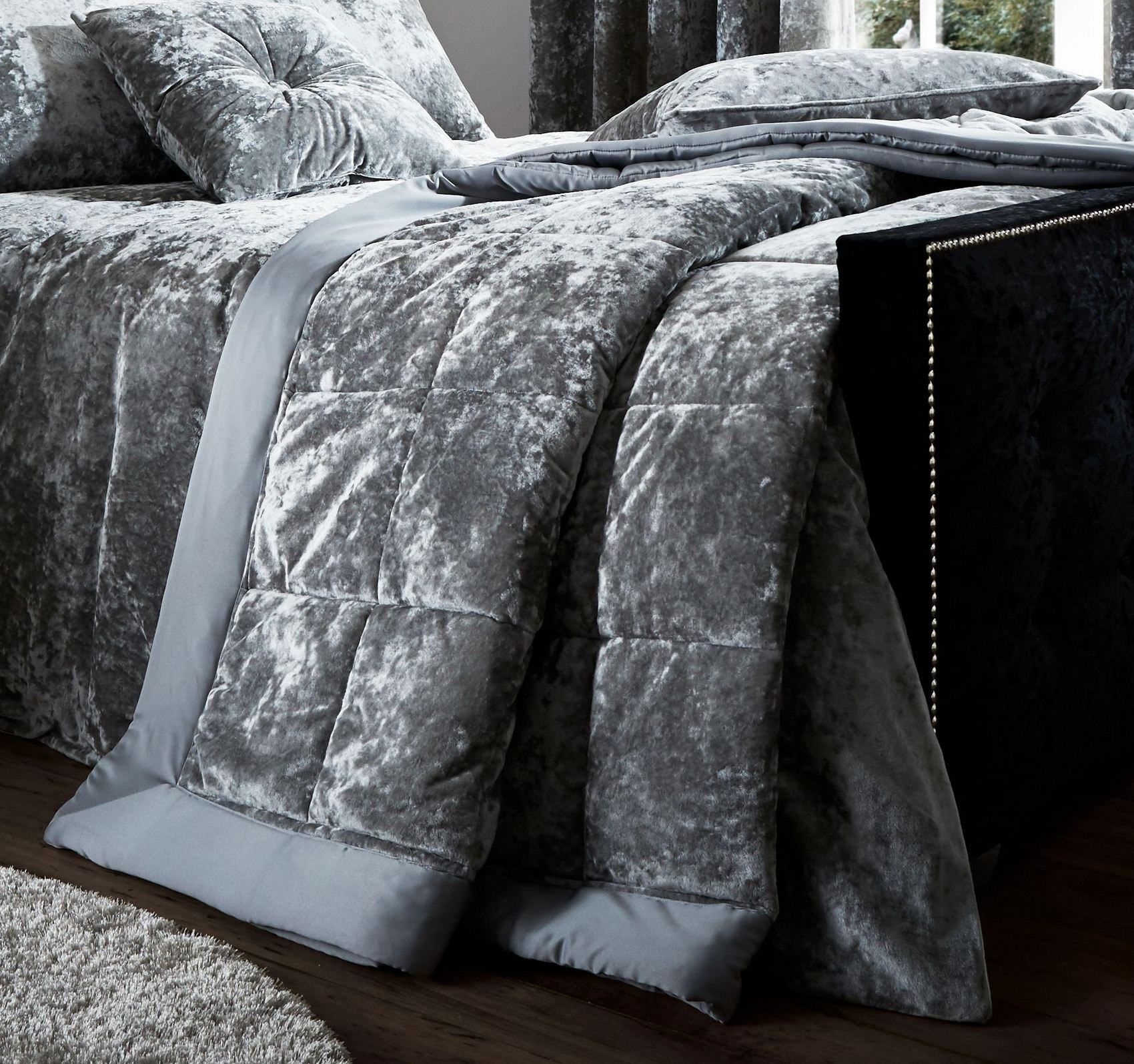 pillowcase velvet glitter itm bedding champagne grey set sienna silver with cover duvet