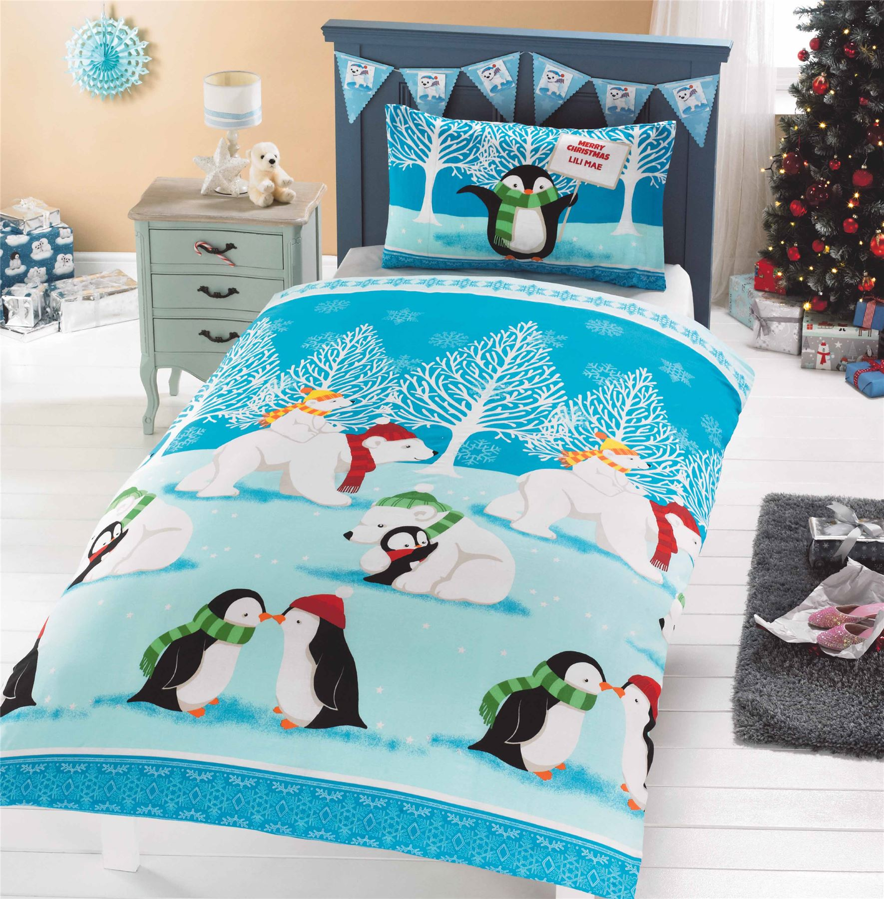 Christmas Kids Quilt Duvet Cover Bedding Bed Sets 5 Sizes Festive ...