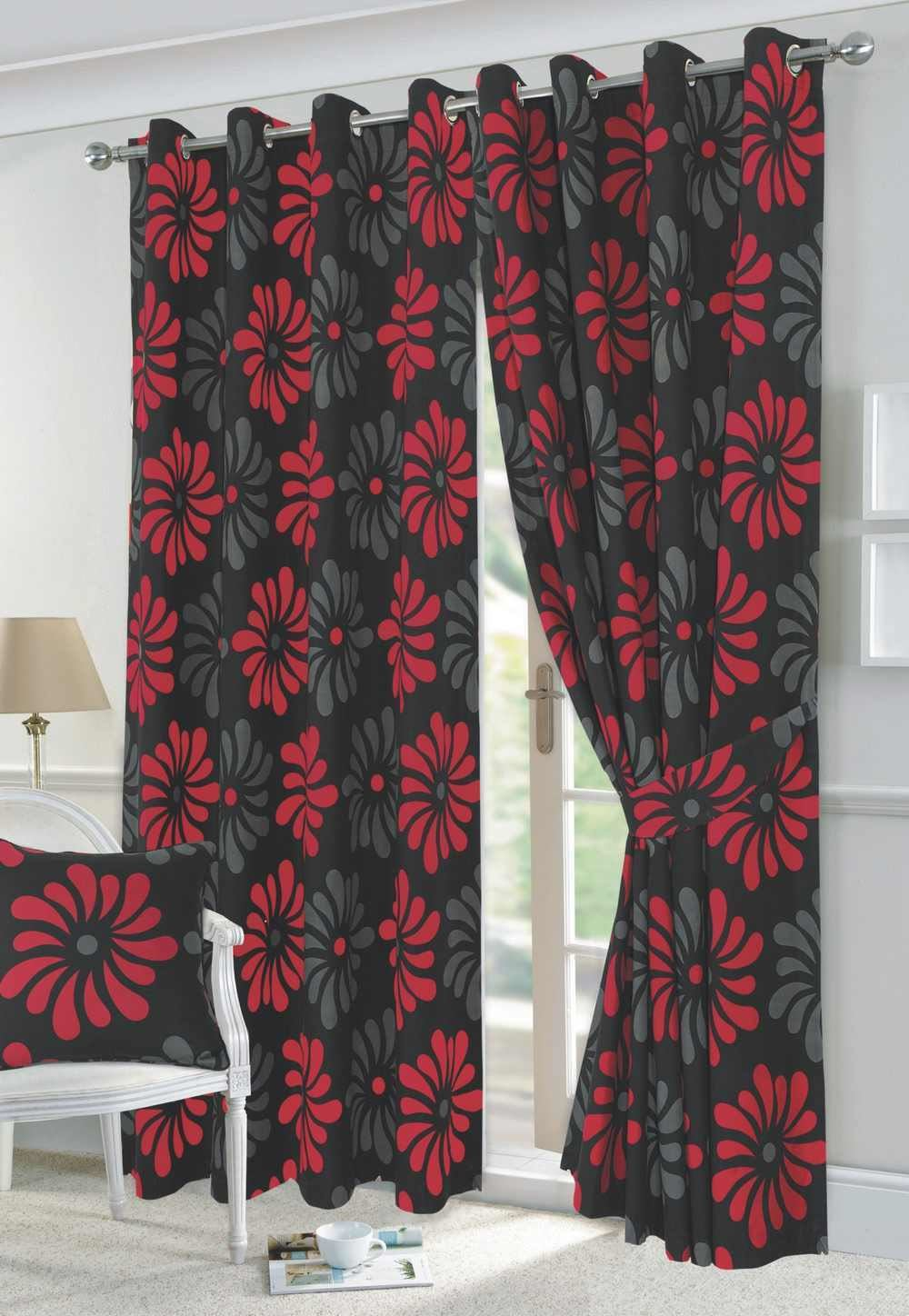 Floral Curtains Fully Lined Eyelet Ring Top Ready
