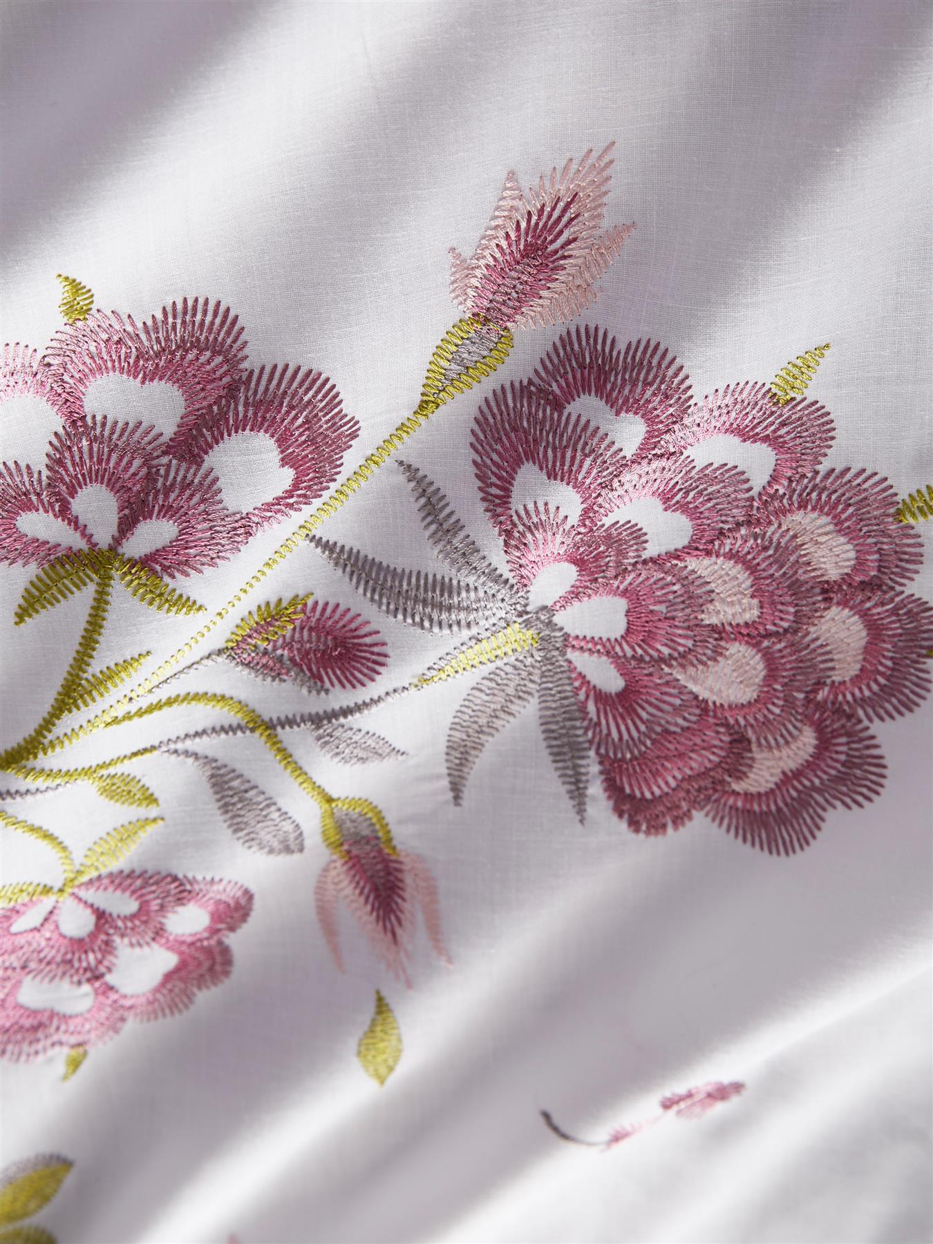 Embroidered Floral Duvet Cover Bedding Bed Set Modern Soft Reversible