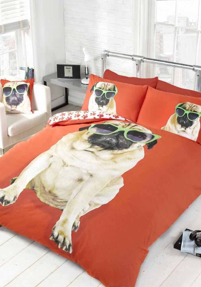 Pug Dog Quilt Duvet Cover Bedding Bed Sets Funky Novelty