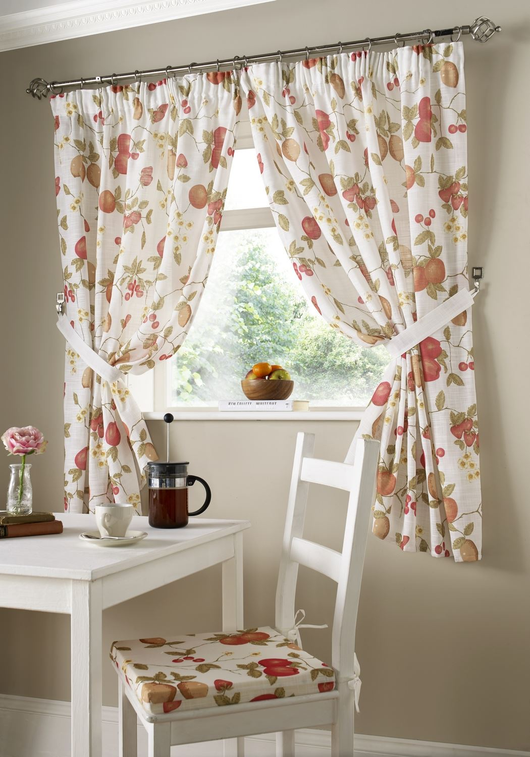 Ready Made Kitchen Window Curtains Pencil Pleat Tie Backs