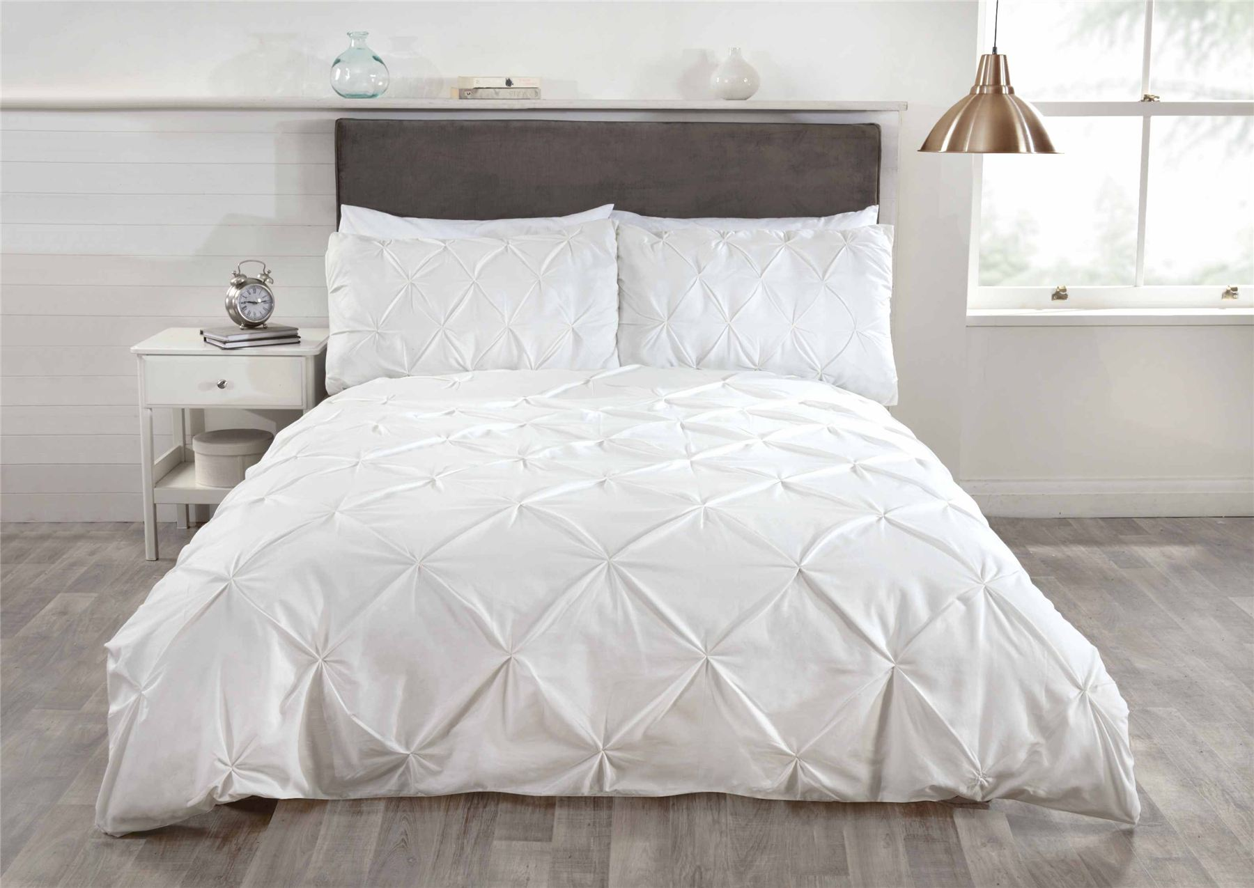 Luxury Duvet Quilt Bedding Bed Set And Pillowcases Pintuck Trim