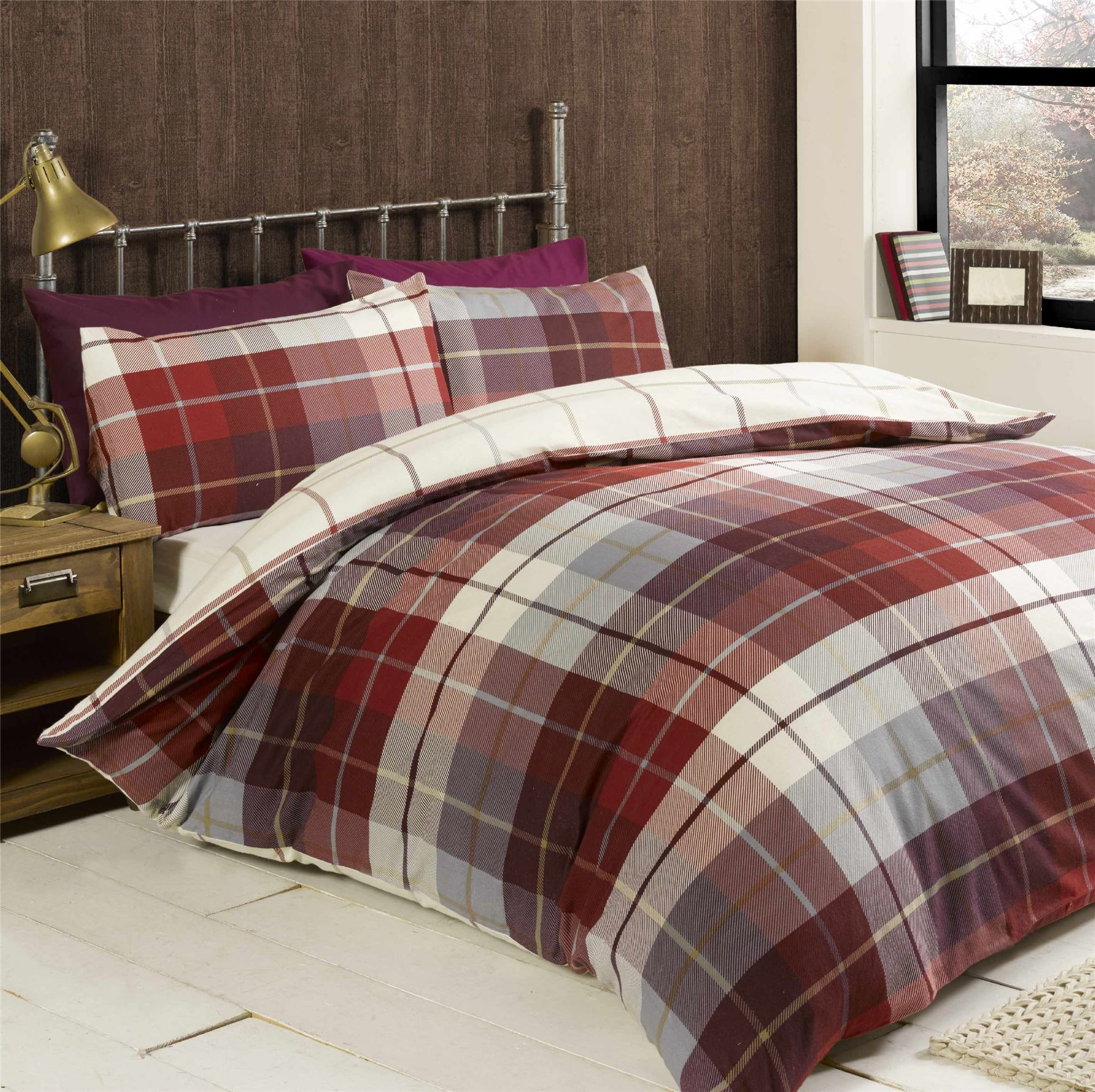 contempo home red cotton amazon uk just duvet dp set co king plaid cover brushed kitchen