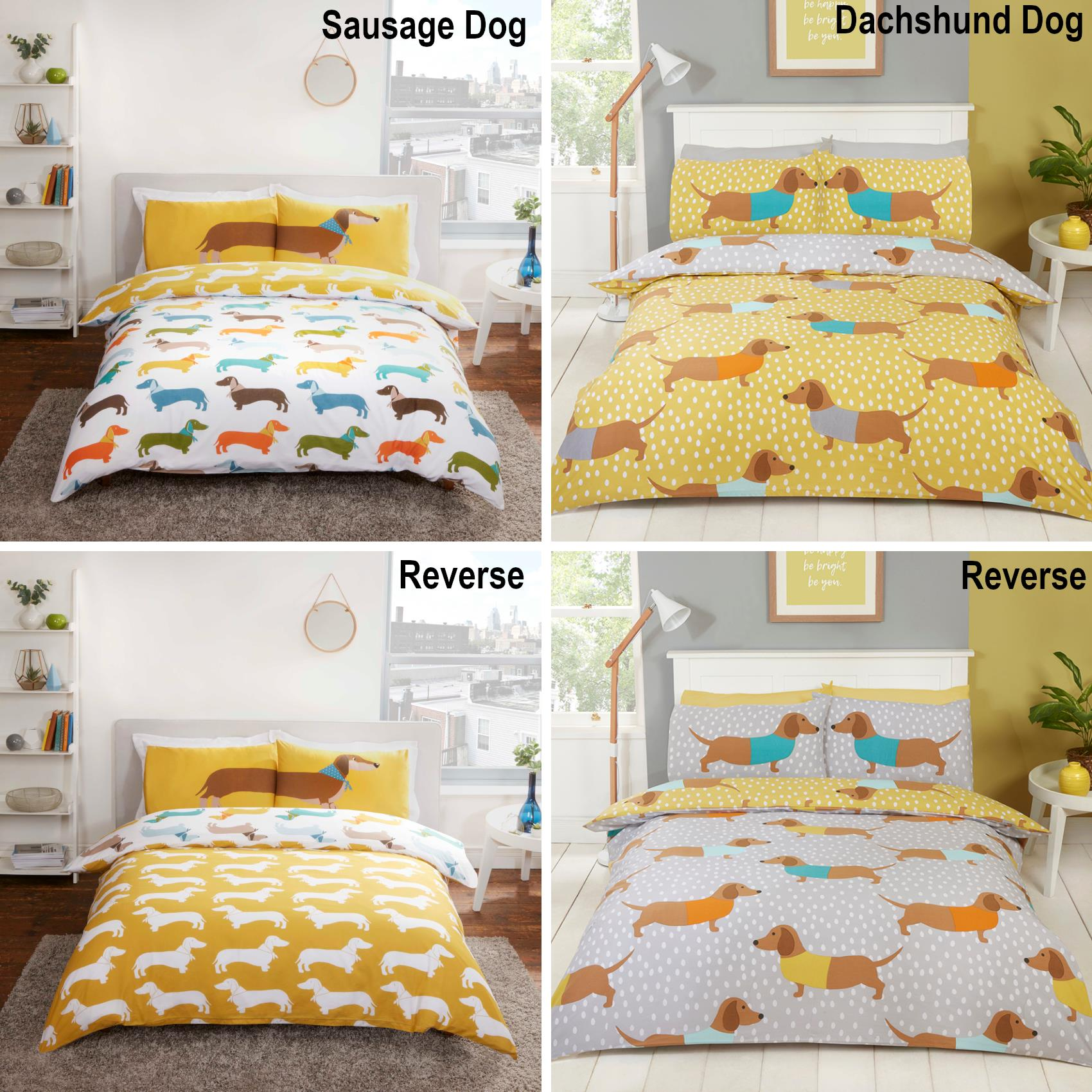 British Designed Sausage Dog Reversible Duvet Cover Set