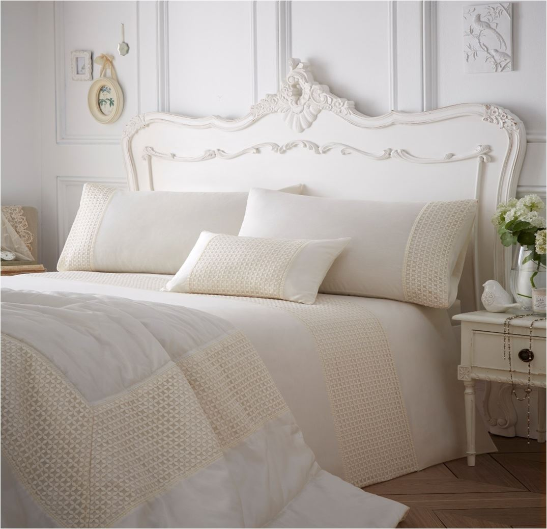 embroidered or laced quilt duvet cover bedding bed sets modern cream blue new ebay. Black Bedroom Furniture Sets. Home Design Ideas