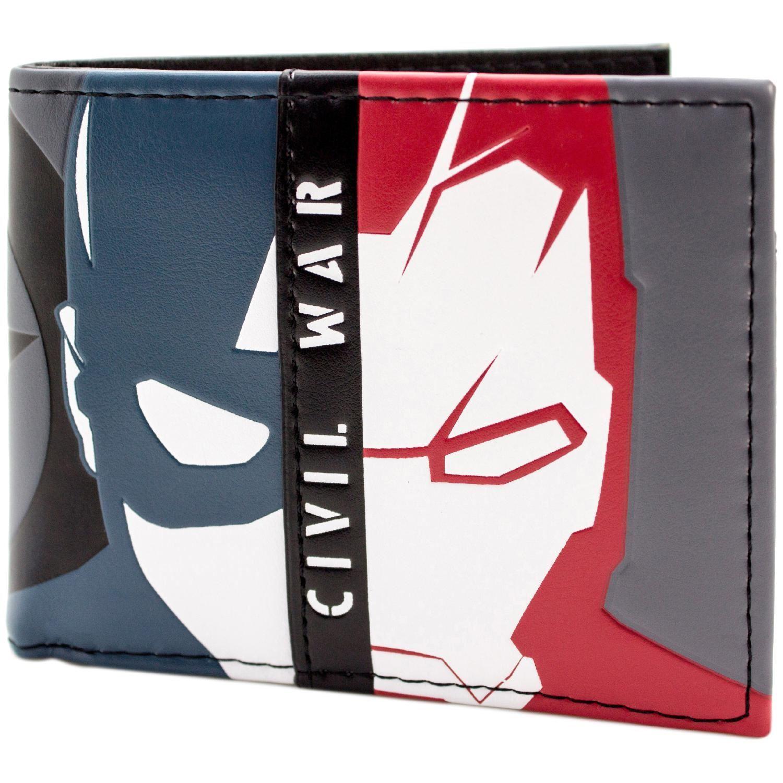 secondo * UFFICIALE Avengers Capitan America Guerra Civile maschera di Iron Man Wallet Blu