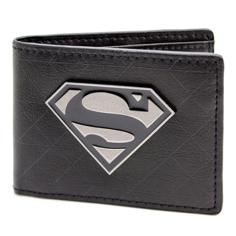 Official Dc Comics Superman Symbol Badge Black Id Card Wallet