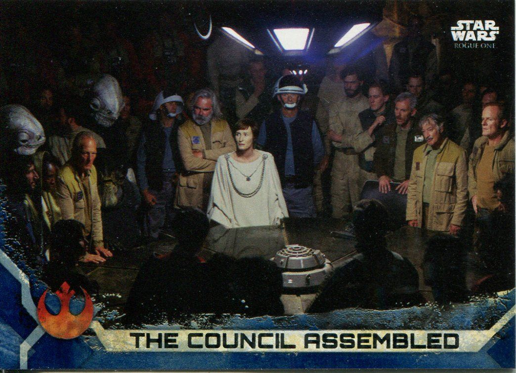 Star Wars Rogue One Series 2 Black Base Card #10 Meeting the Rebel Council
