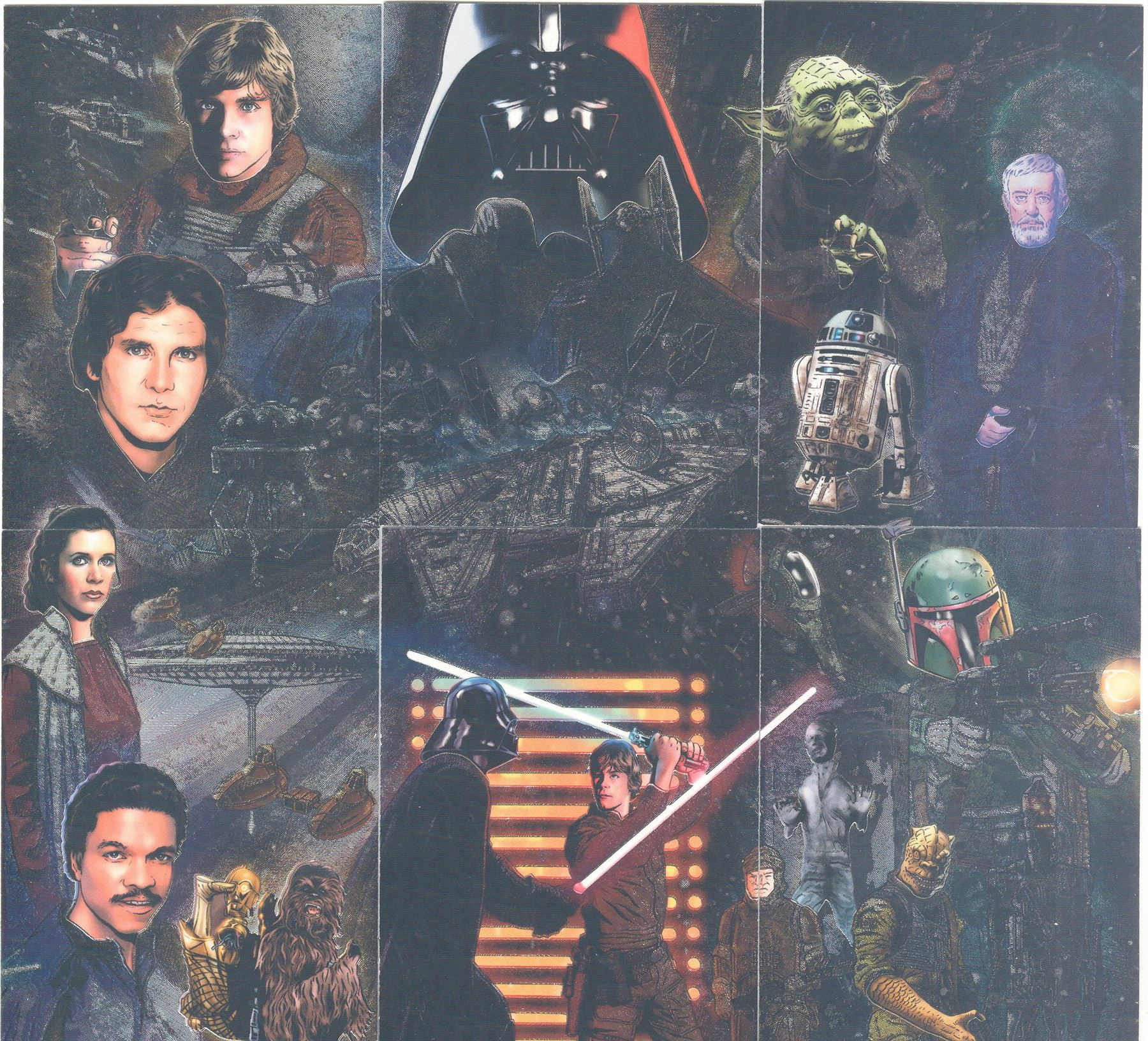 Star Wars Revenge Of The Sith Topps Full 6 Etched Foil Puzzle Card Chase Set 1