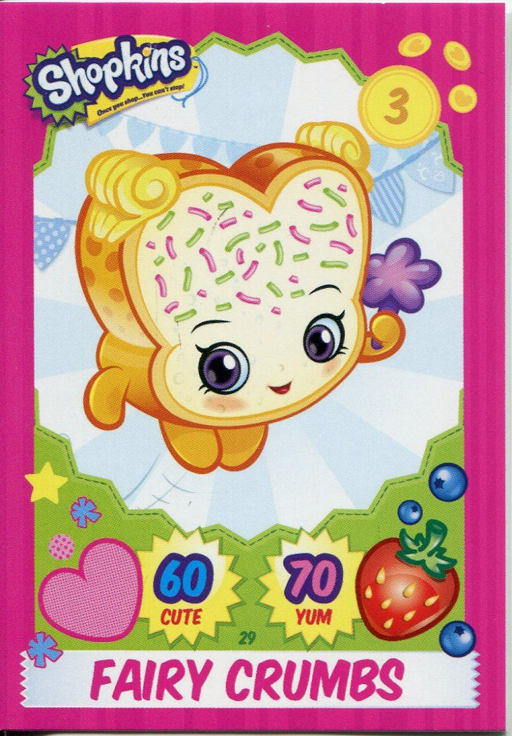 Topps Shopkins Series 1-4 Trading Cards Base Card #29 Fairy Crumbs