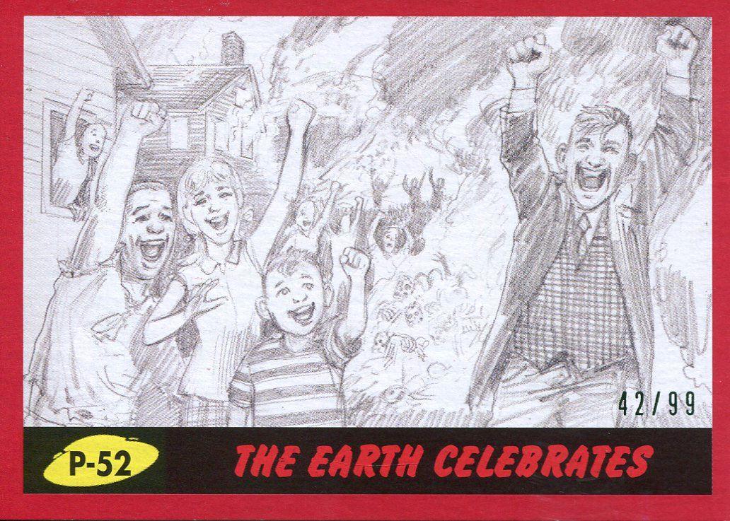 Mars Attacks The Revenge Red 99 Pencil Art Base Card P-1 Mars Destroyed