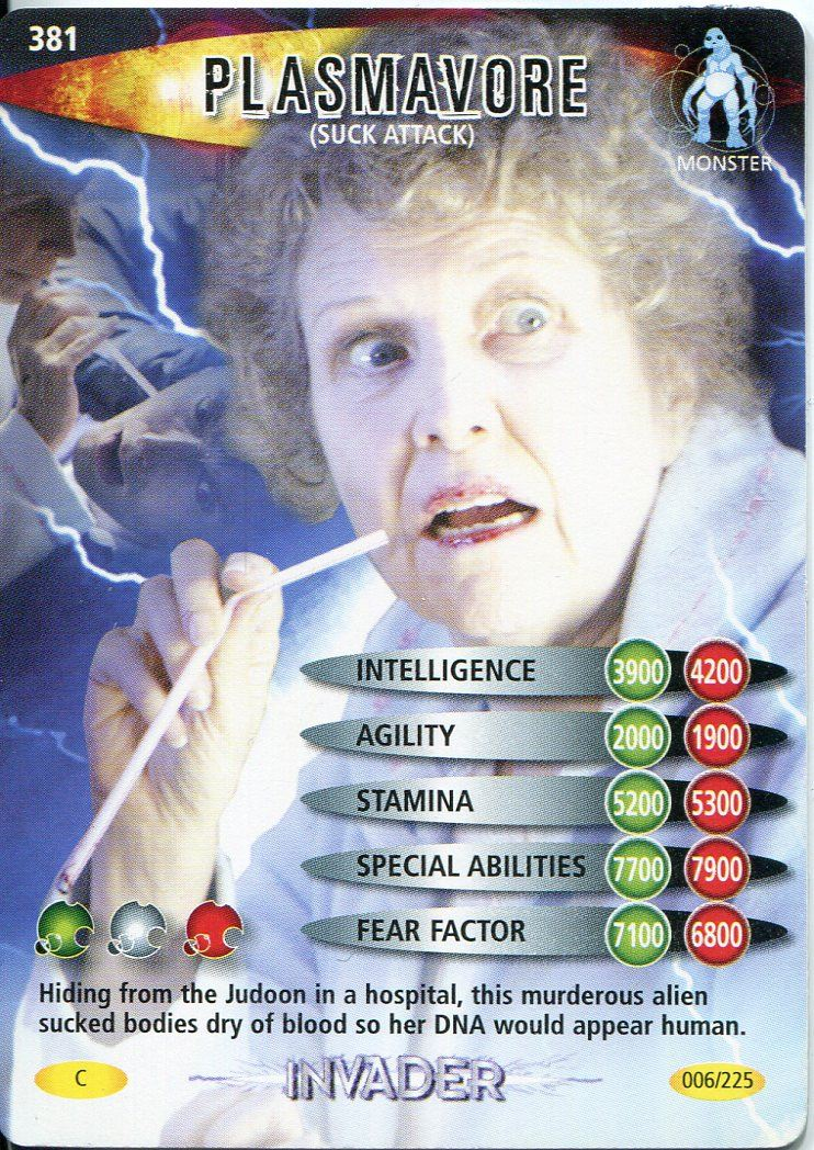 SUCK ATTACK DR WHO INVADER CARD 381 PLASMAVORE