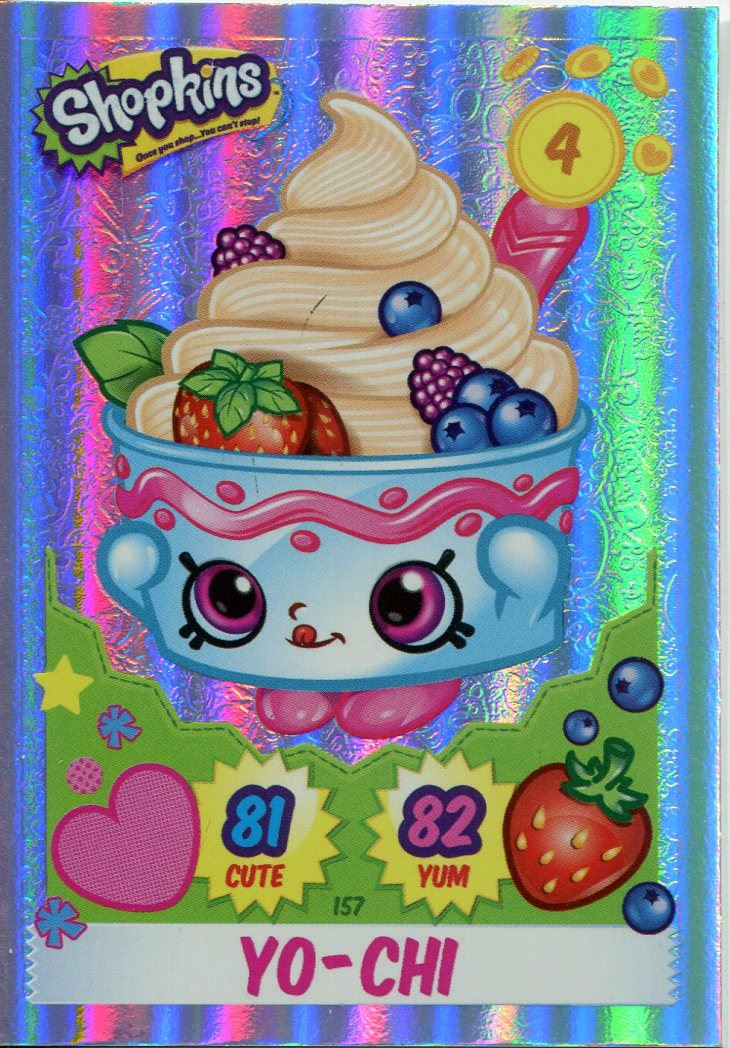 Topps Shopkins Series 1-4 Trading Cards Shiny Chase Card #154 Polly Polish