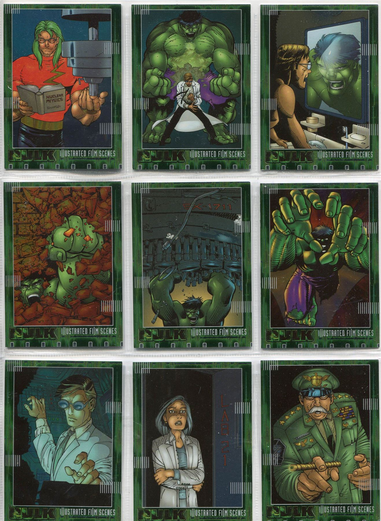 The Hulk Film And Comic Cards Complete Illustrated Film Scenes Chase Set IF1-10
