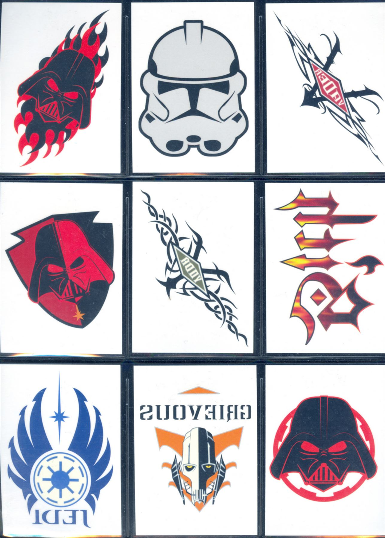 Temporary Tattoos Set 1-10 Star Wars Revenge Of The Sith Complete Retail Excl