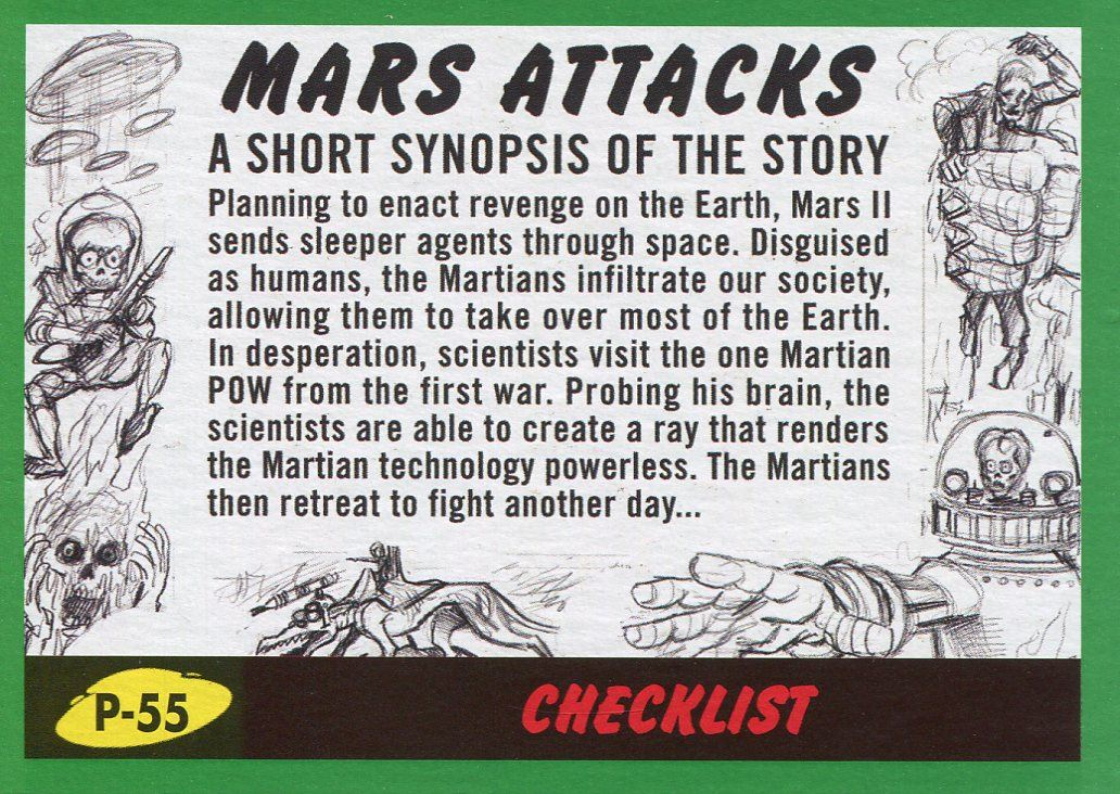 Mars Attacks The Revenge Green Pencil Art Base Card P-1 Mars Destroyed