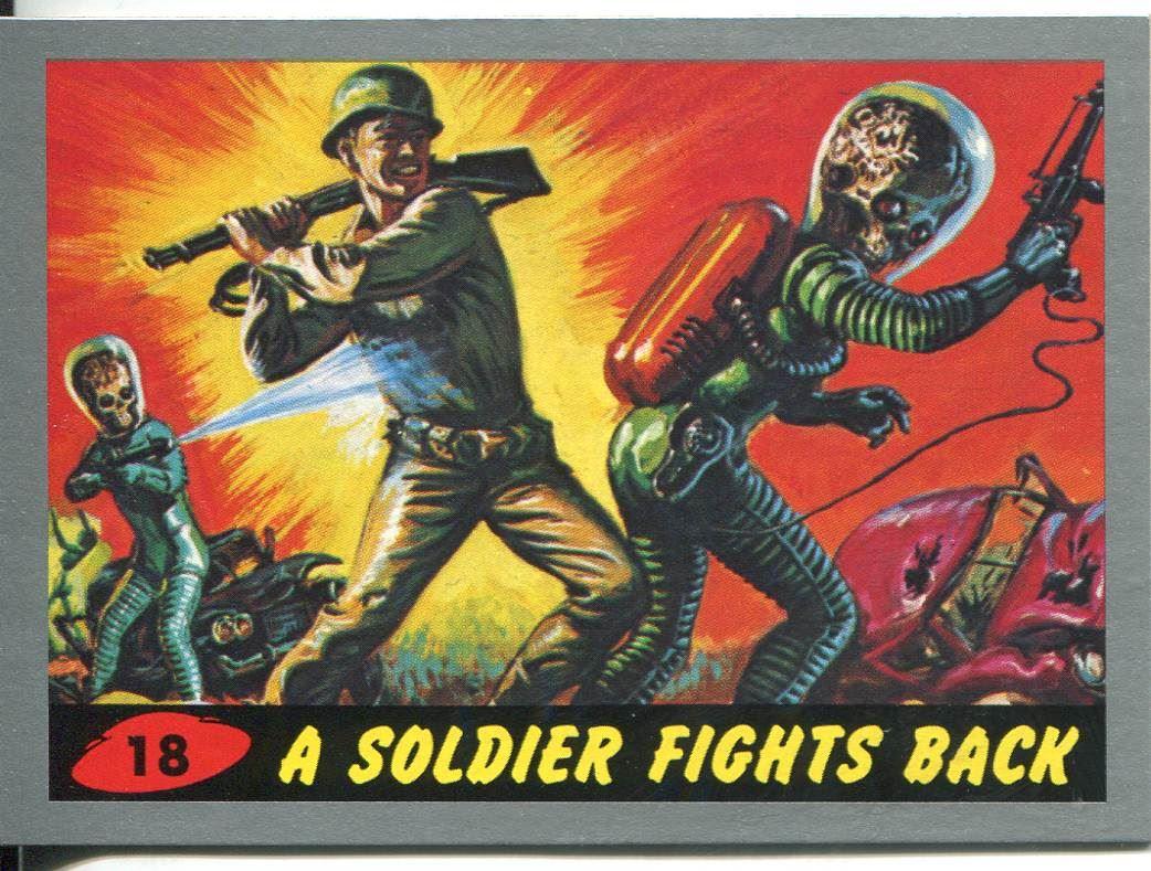 Mars Attacks Heritage Silver Parallel Base Card #19    Burning Flesh